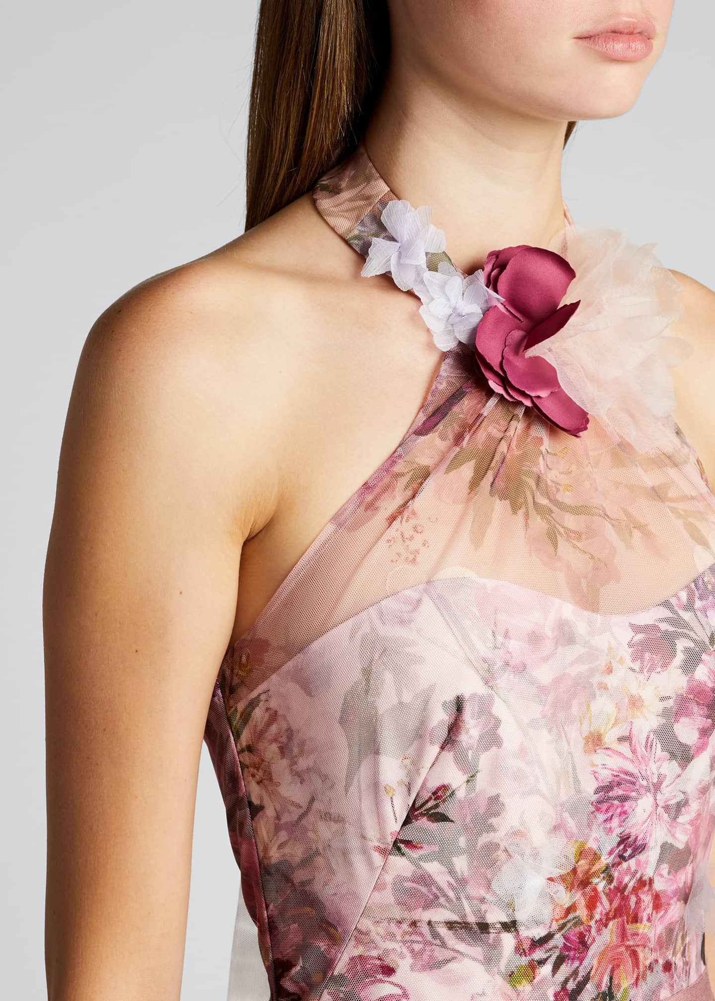 Image 4 of 5: High-Low Floral Printed Tulle Halter Dress with 3D Flowers