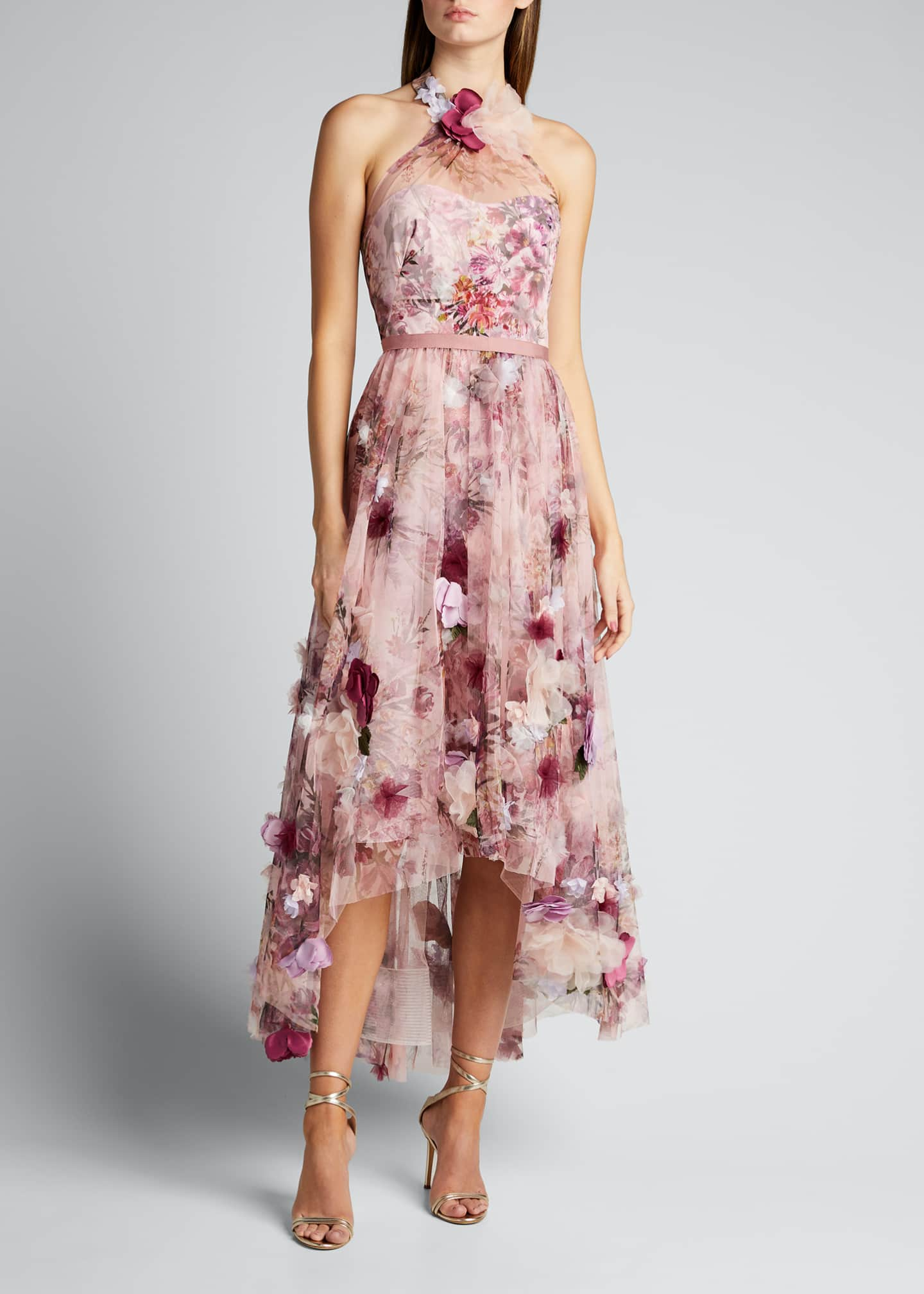 Image 1 of 5: High-Low Floral Printed Tulle Halter Dress with 3D Flowers