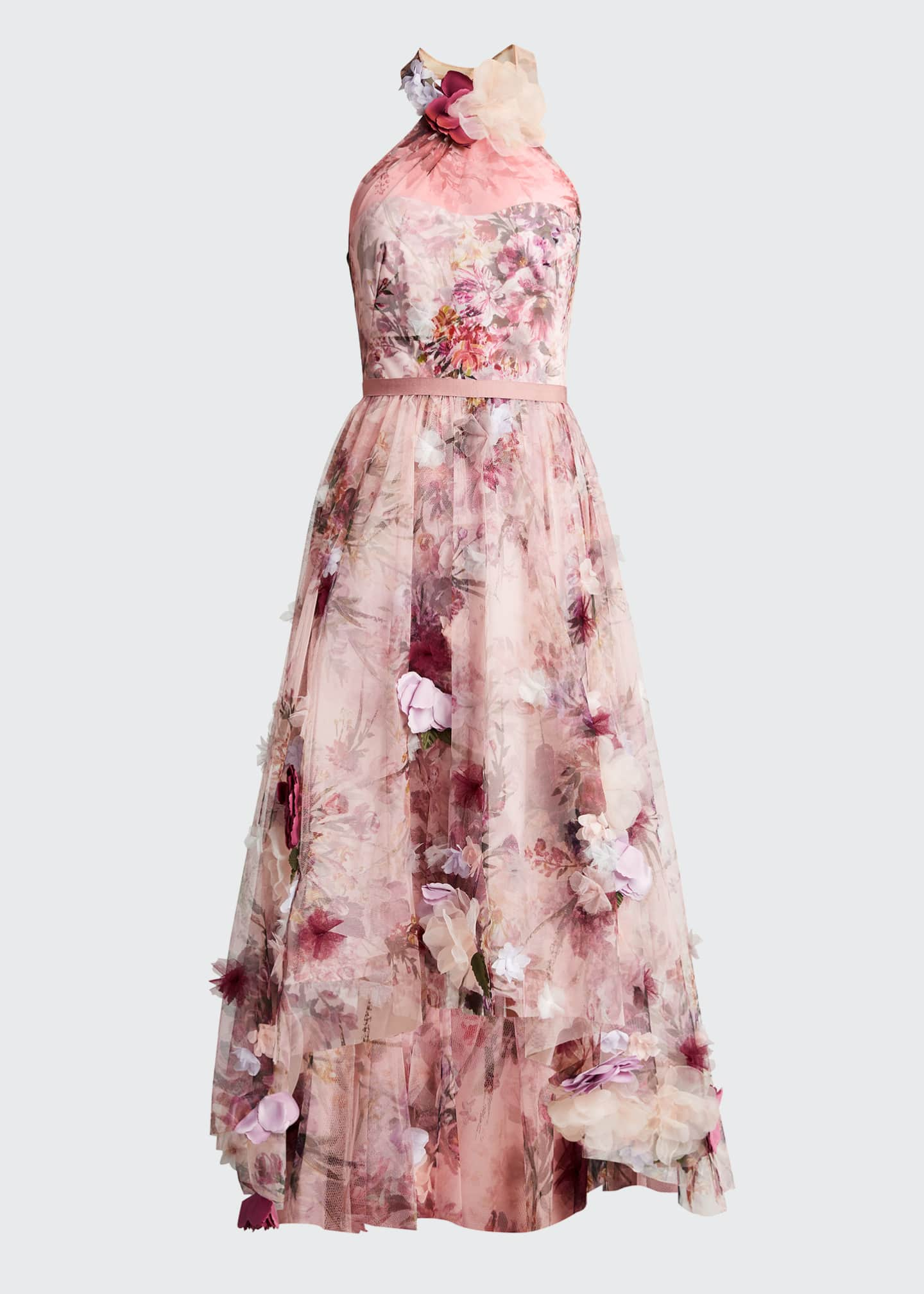 Image 5 of 5: High-Low Floral Printed Tulle Halter Dress with 3D Flowers