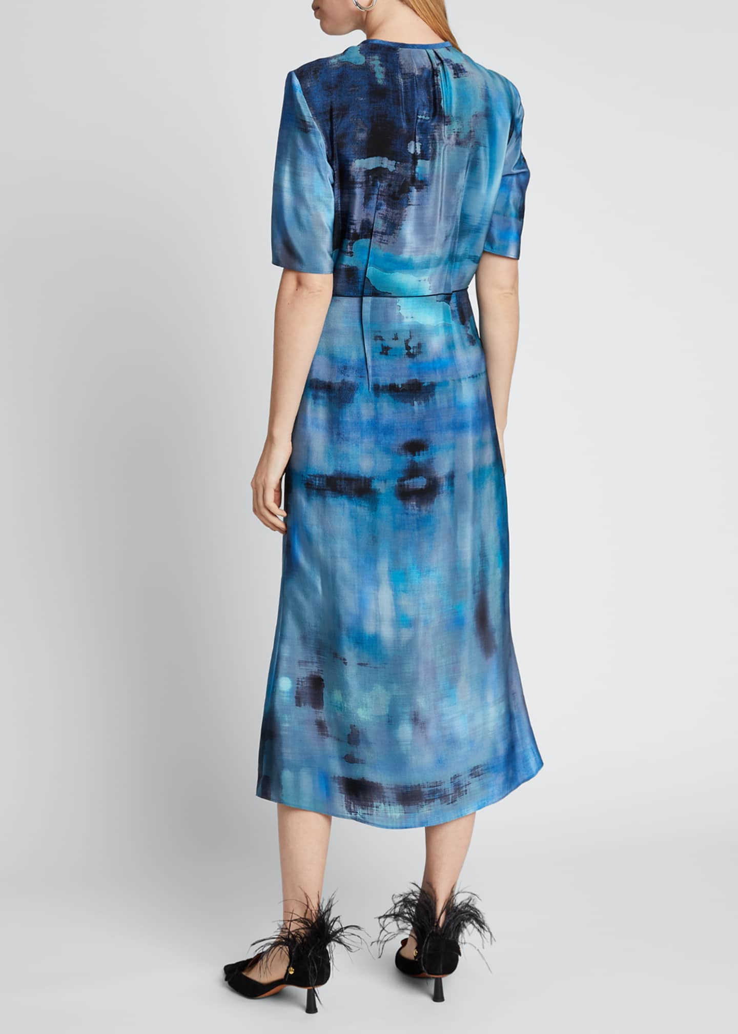 Image 2 of 3: Floral-Print Silk Dress