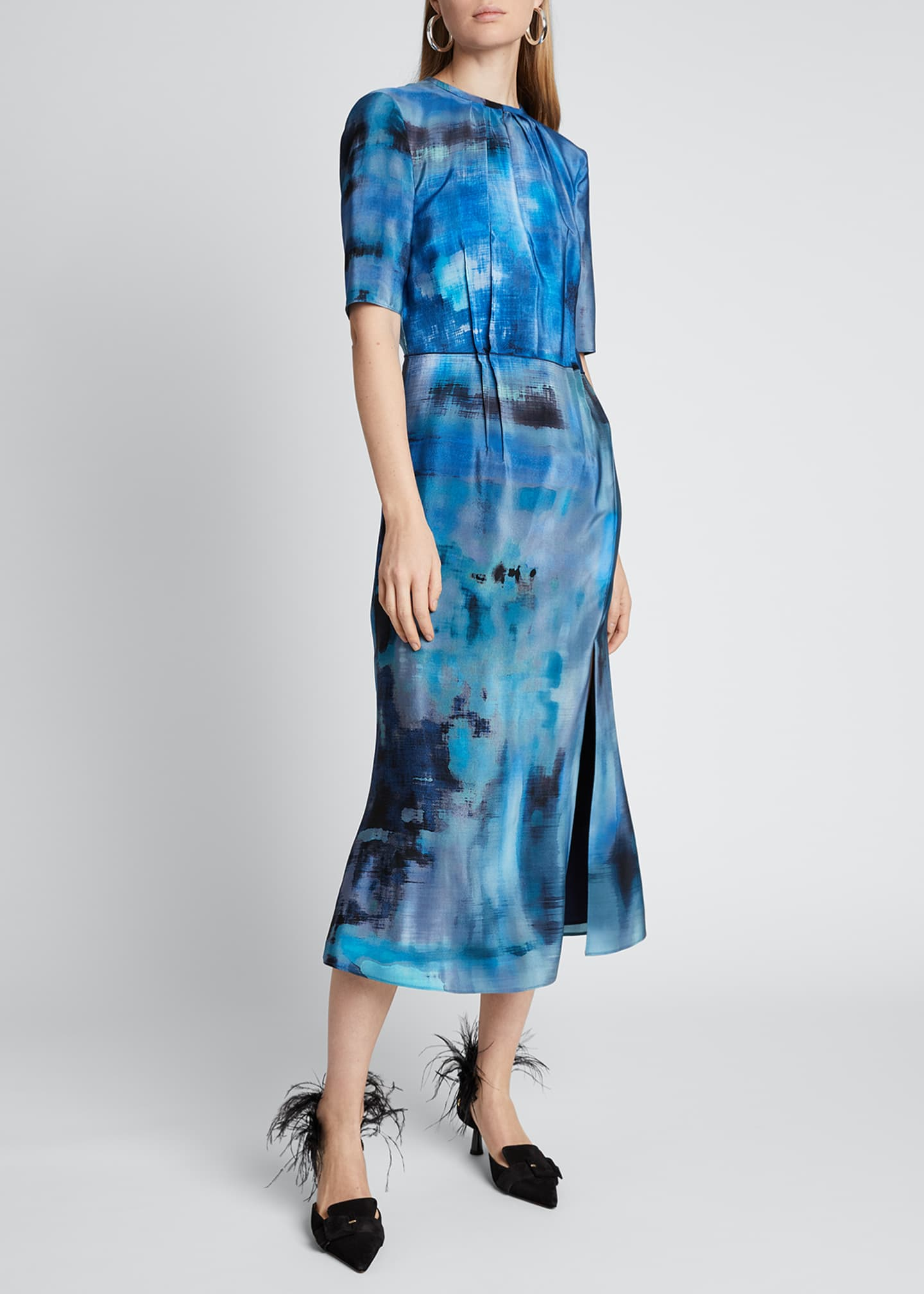 Image 1 of 3: Floral-Print Silk Dress