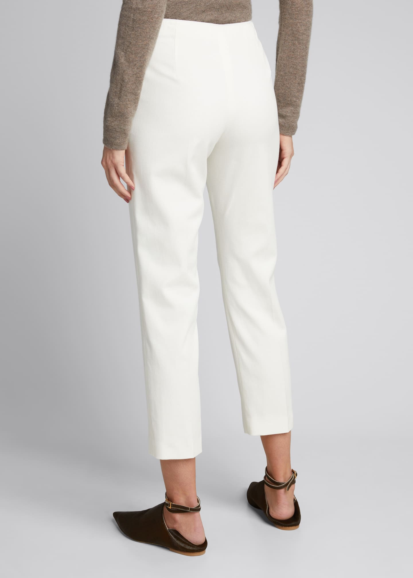 Image 2 of 5: Pleat-Front Tailored Straight-Leg Stretch Pants
