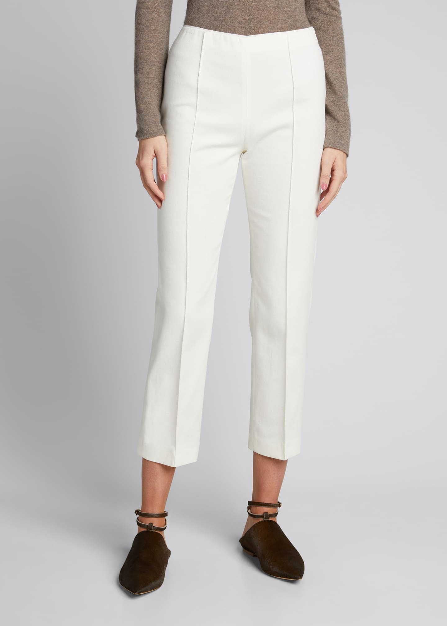 Image 3 of 5: Pleat-Front Tailored Straight-Leg Stretch Pants
