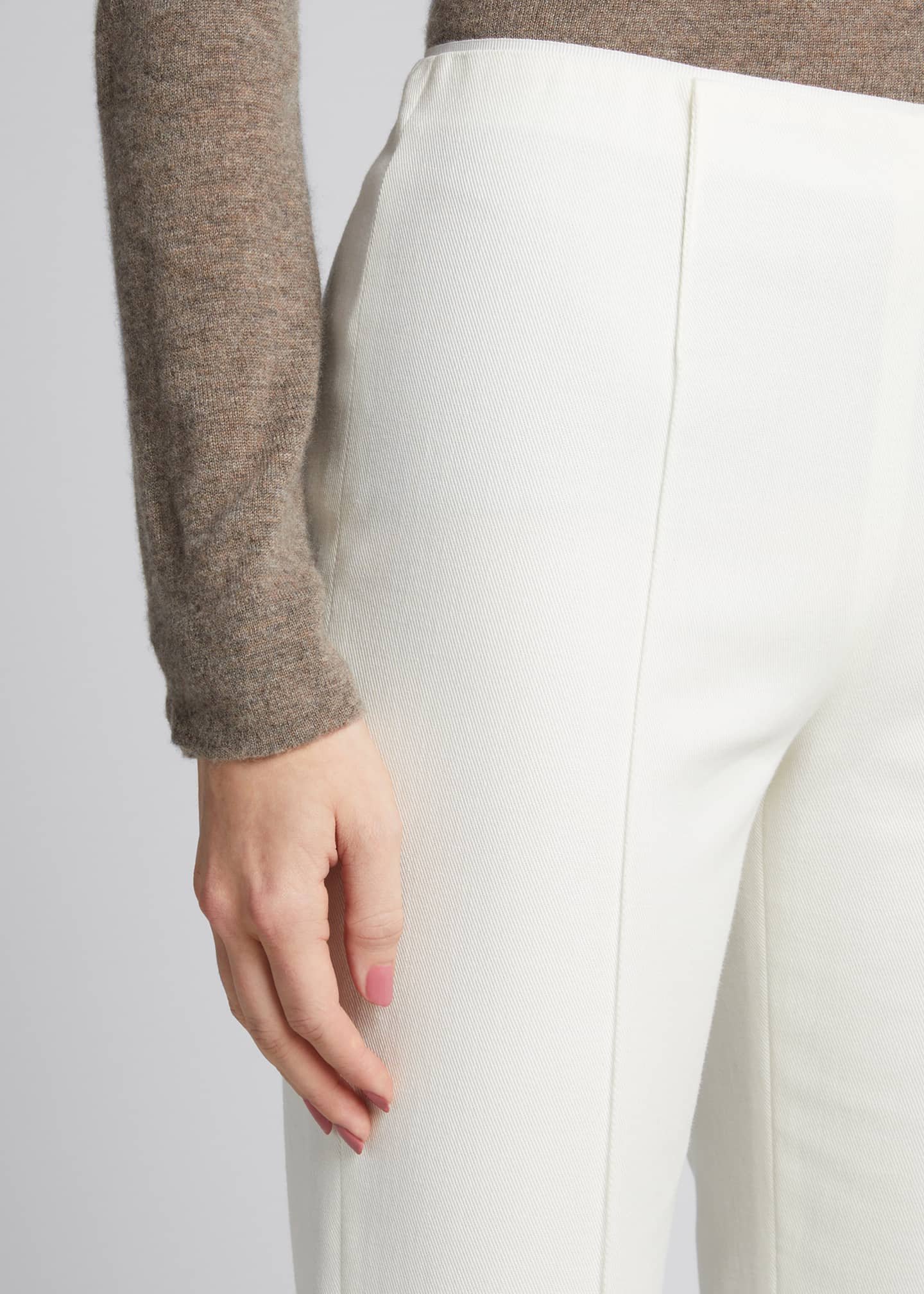 Image 4 of 5: Pleat-Front Tailored Straight-Leg Stretch Pants