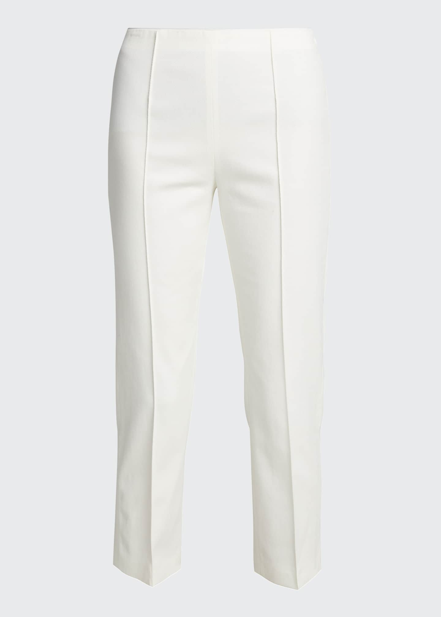 Image 5 of 5: Pleat-Front Tailored Straight-Leg Stretch Pants