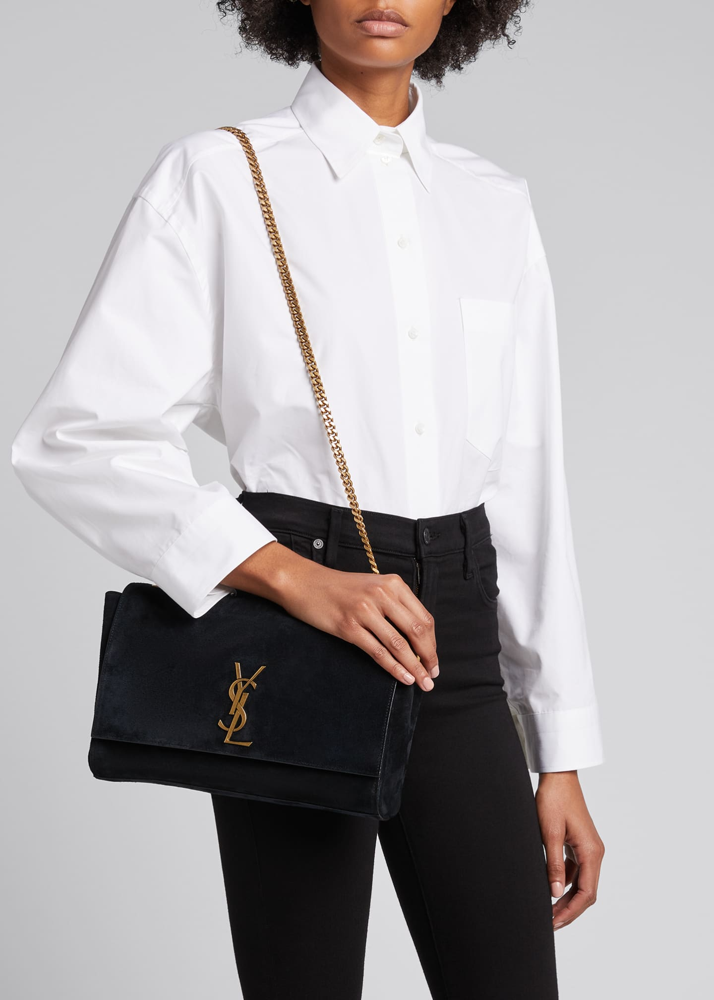 Image 2 of 5: Kate Medium YSL Reversible Suede Crossbody Bag
