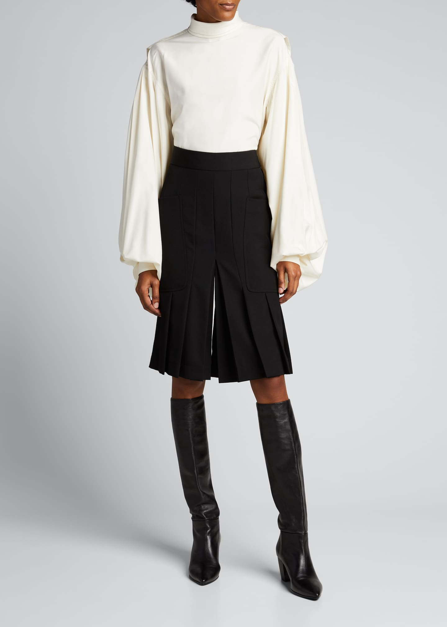 Image 1 of 5: Pleated Wool Culottes