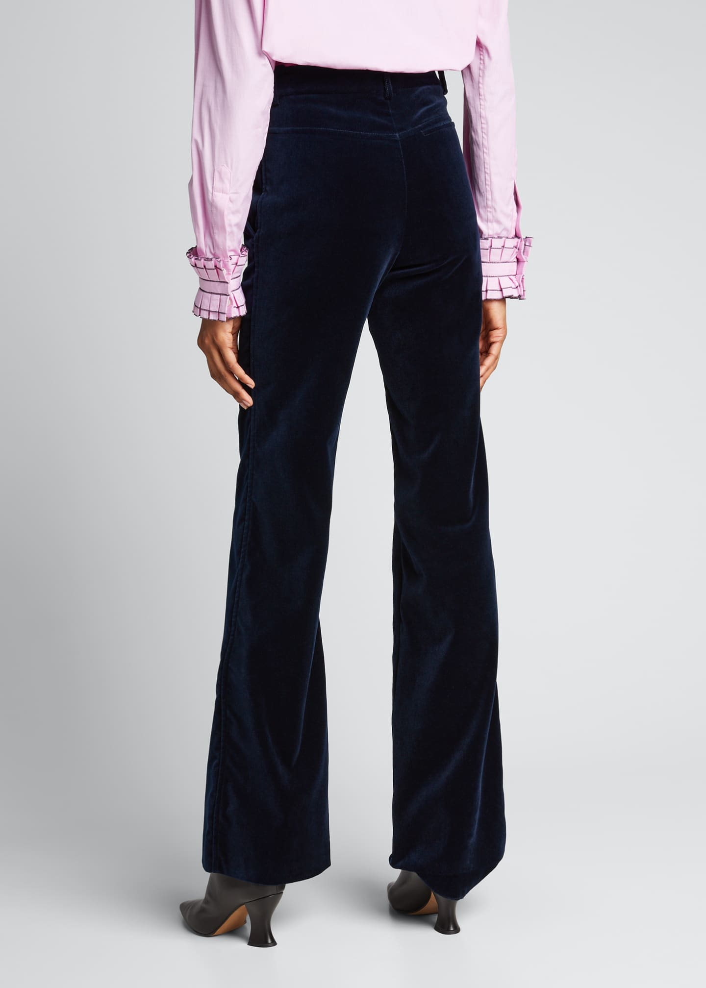 Image 2 of 5: High-Rise Velvet Flare-Leg Trousers