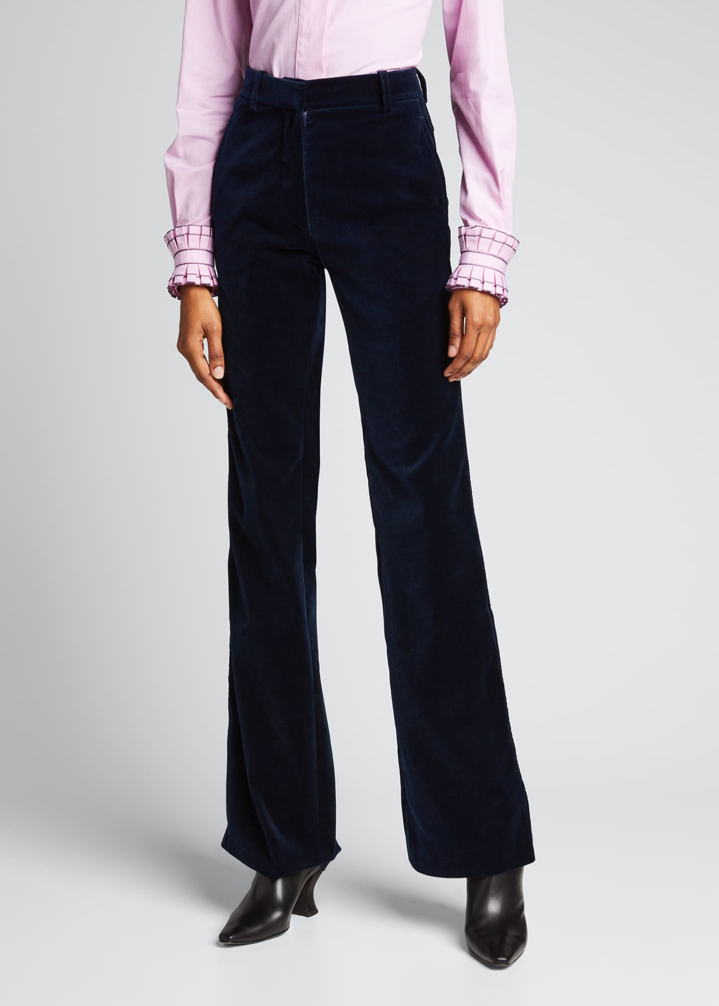 Image 3 of 5: High-Rise Velvet Flare-Leg Trousers