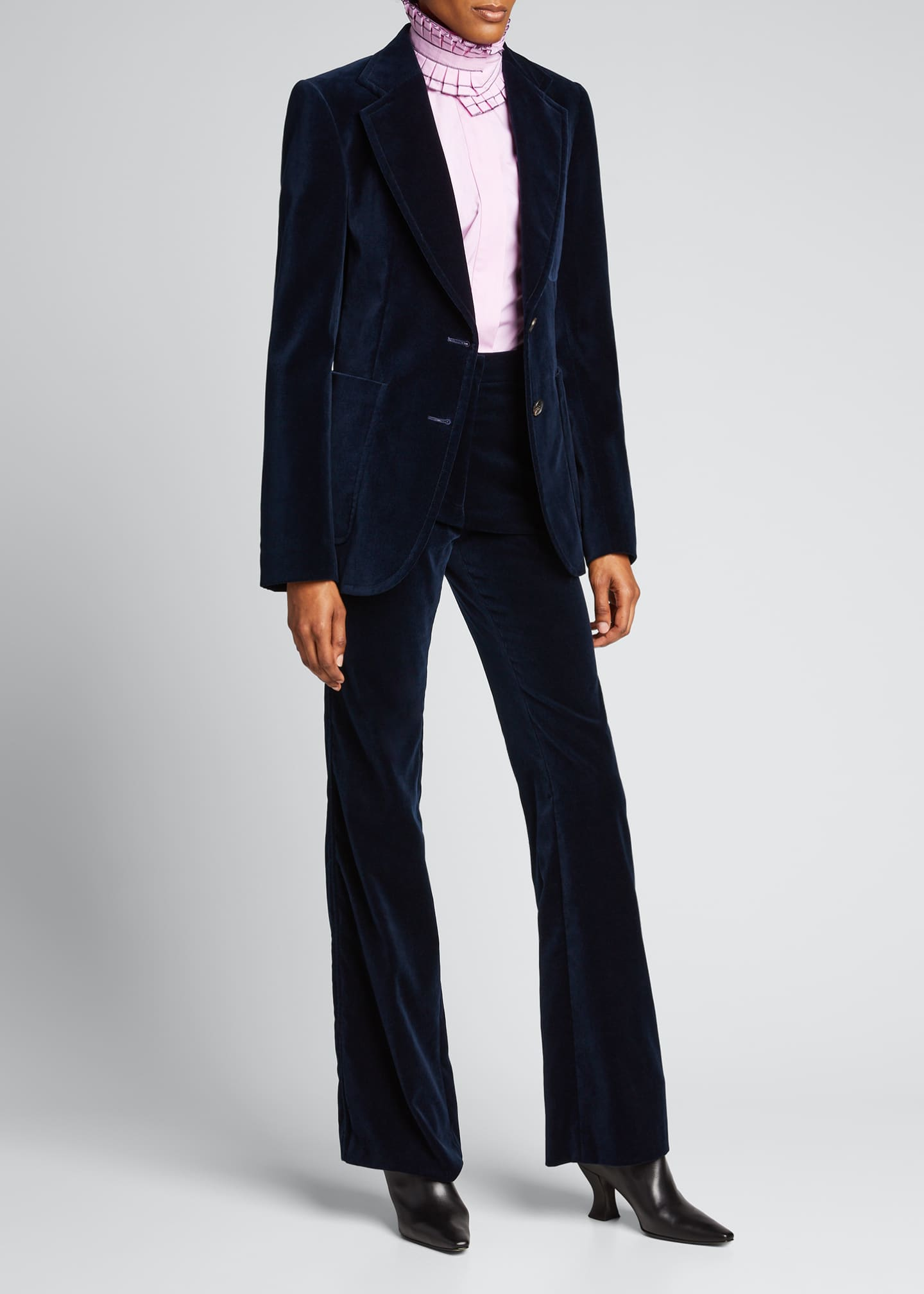 Image 1 of 5: High-Rise Velvet Flare-Leg Trousers