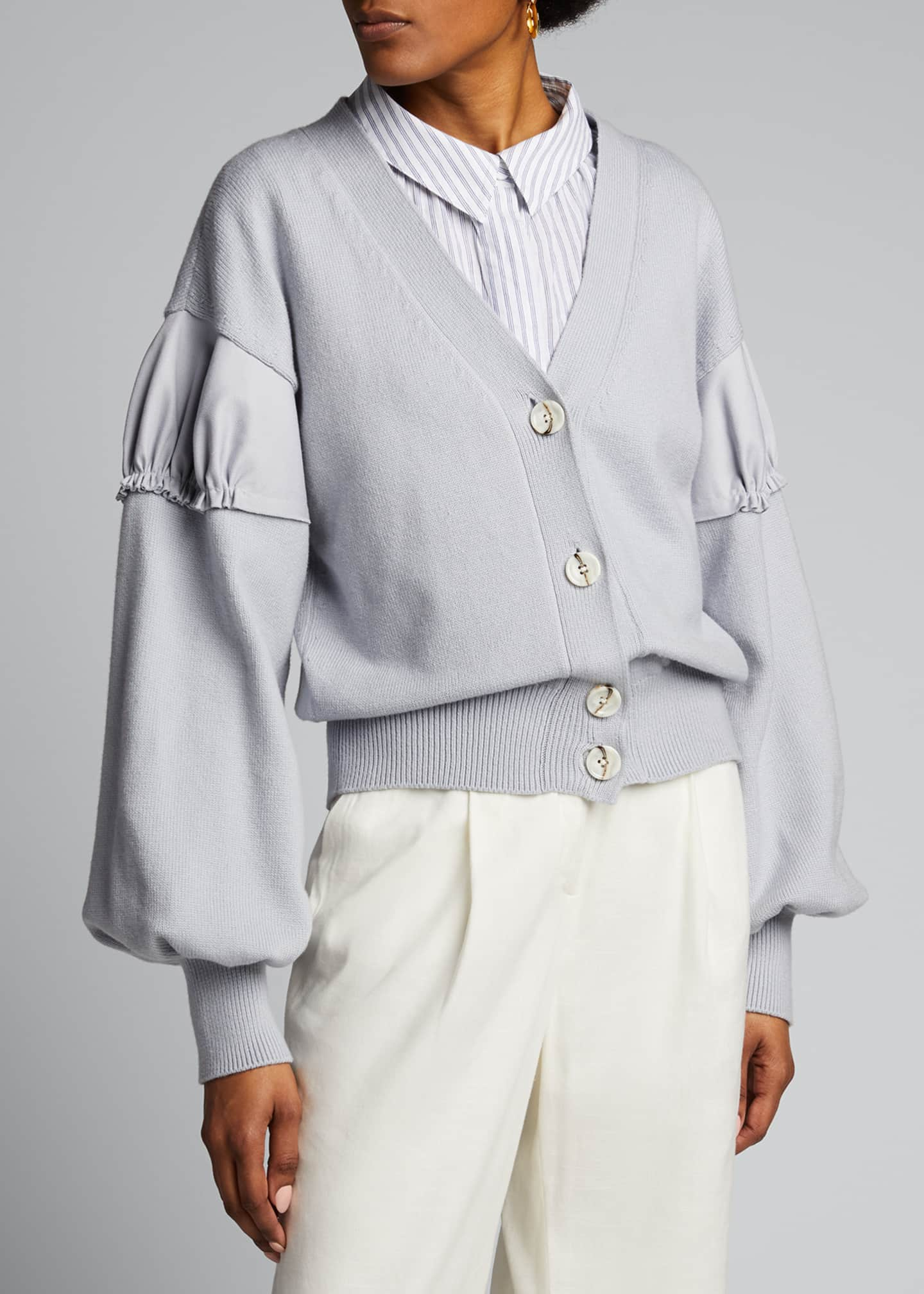 Image 3 of 5: Ruched-Shoulder Crop Cardigan