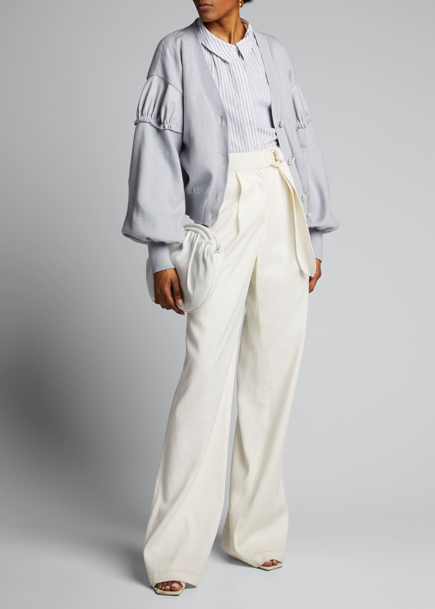 Image 1 of 5: Ruched-Shoulder Crop Cardigan