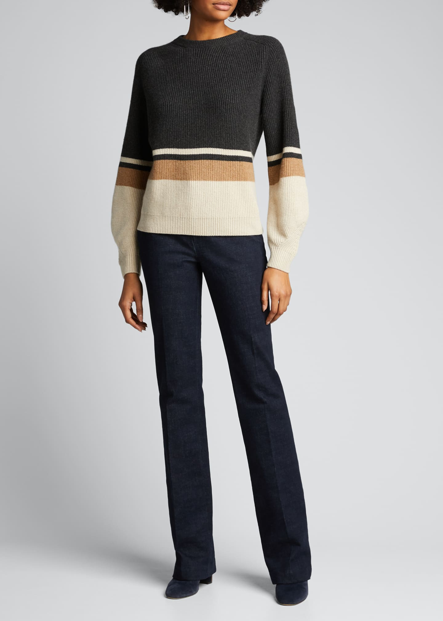Image 1 of 4: Rigato Lexington Striped Cashmere Sweater