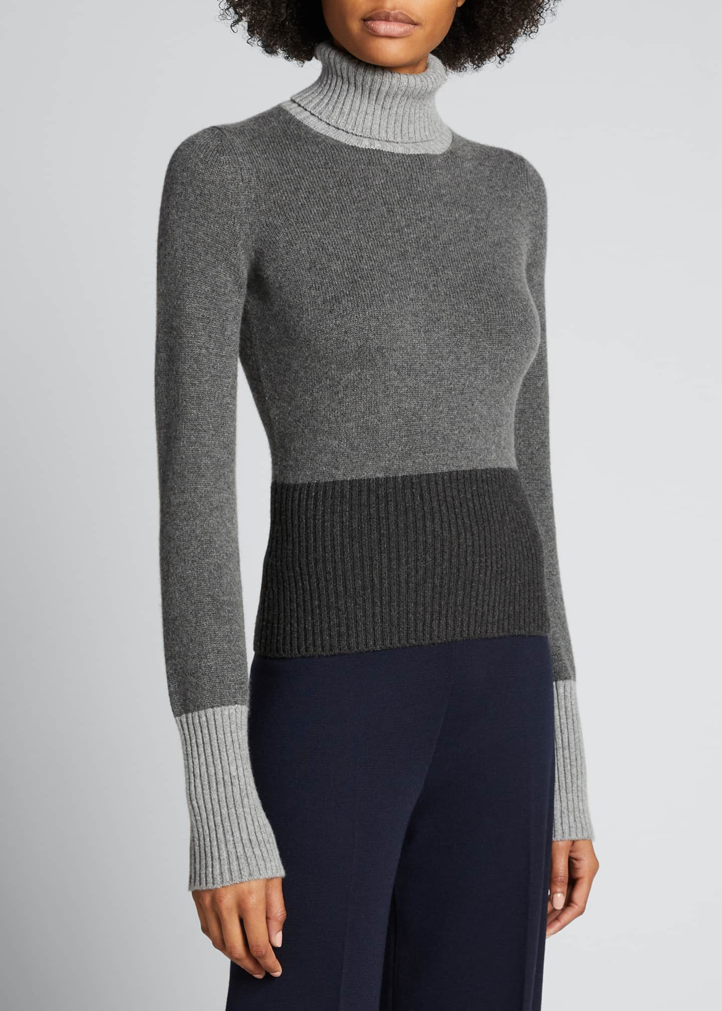 Image 3 of 5: Wall Street Colorblock Turtleneck Sweater