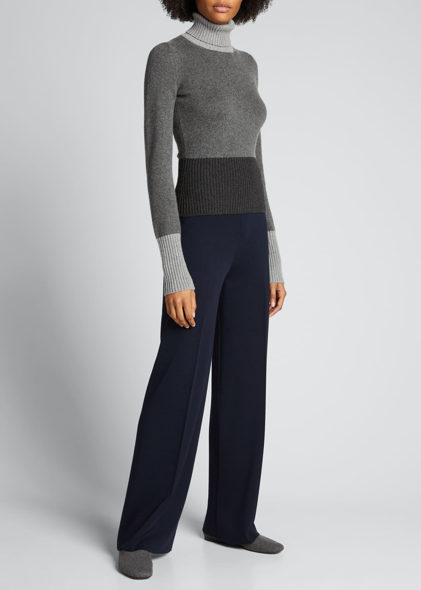 Image 1 of 5: Wall Street Colorblock Turtleneck Sweater