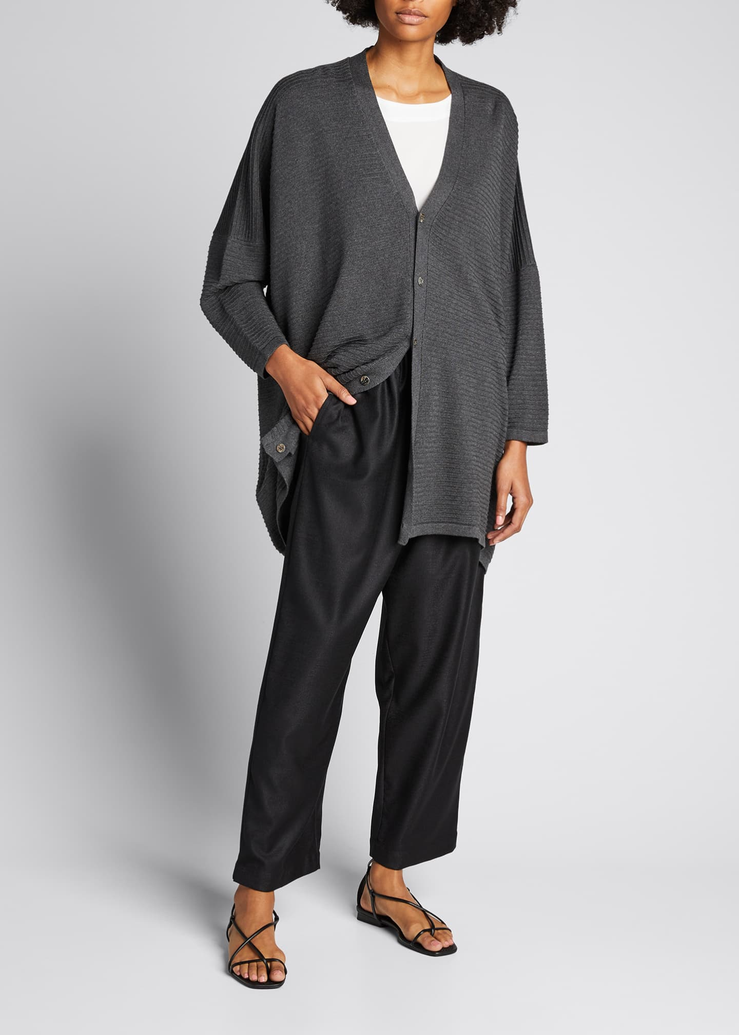 Image 1 of 5: Long V-Neck Ribbed Silk Cardigan