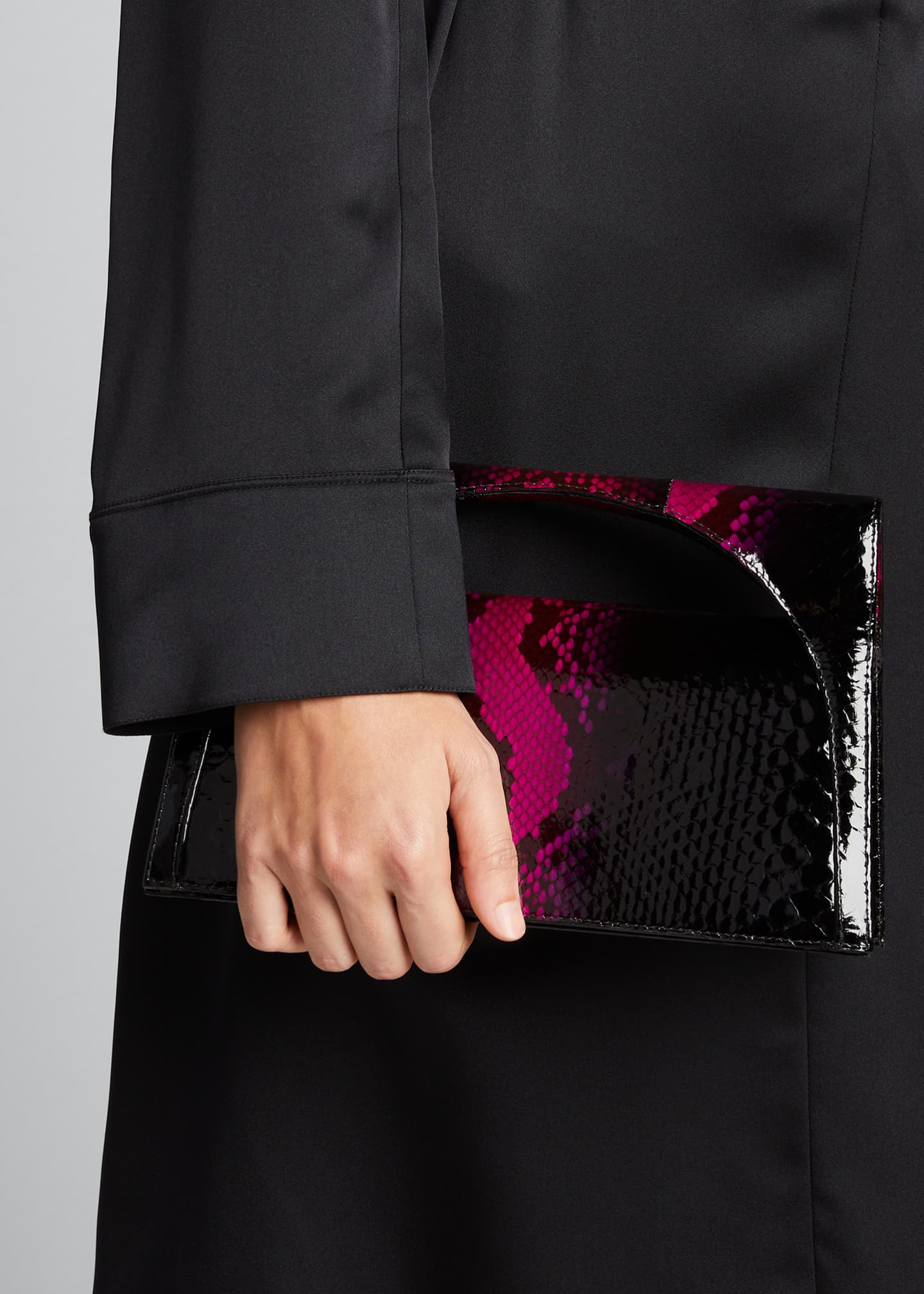 Image 2 of 5: Sammy Small Keyhole Python Clutch Bag