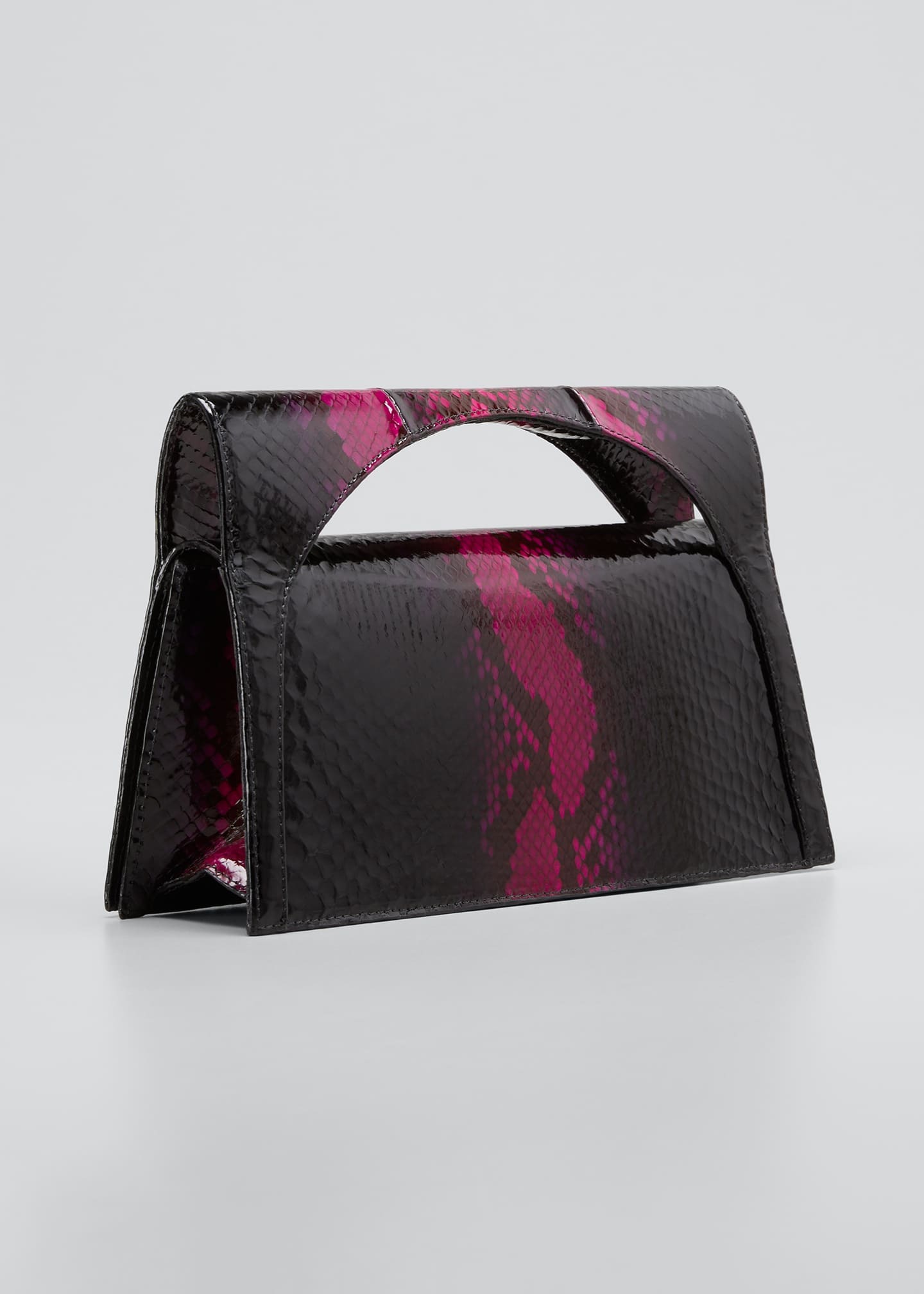 Image 3 of 5: Sammy Small Keyhole Python Clutch Bag