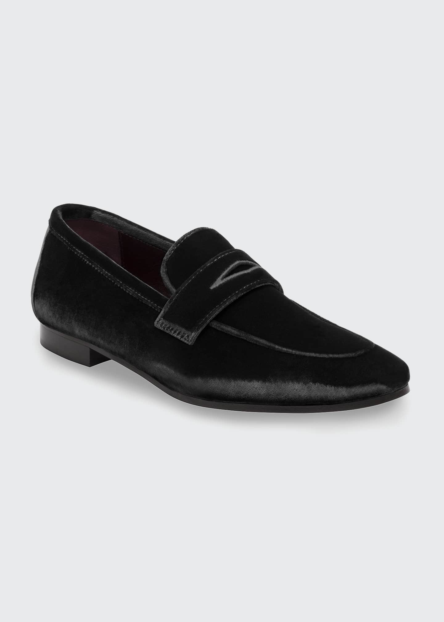 Image 2 of 4: Velvet Flat Penny Loafers