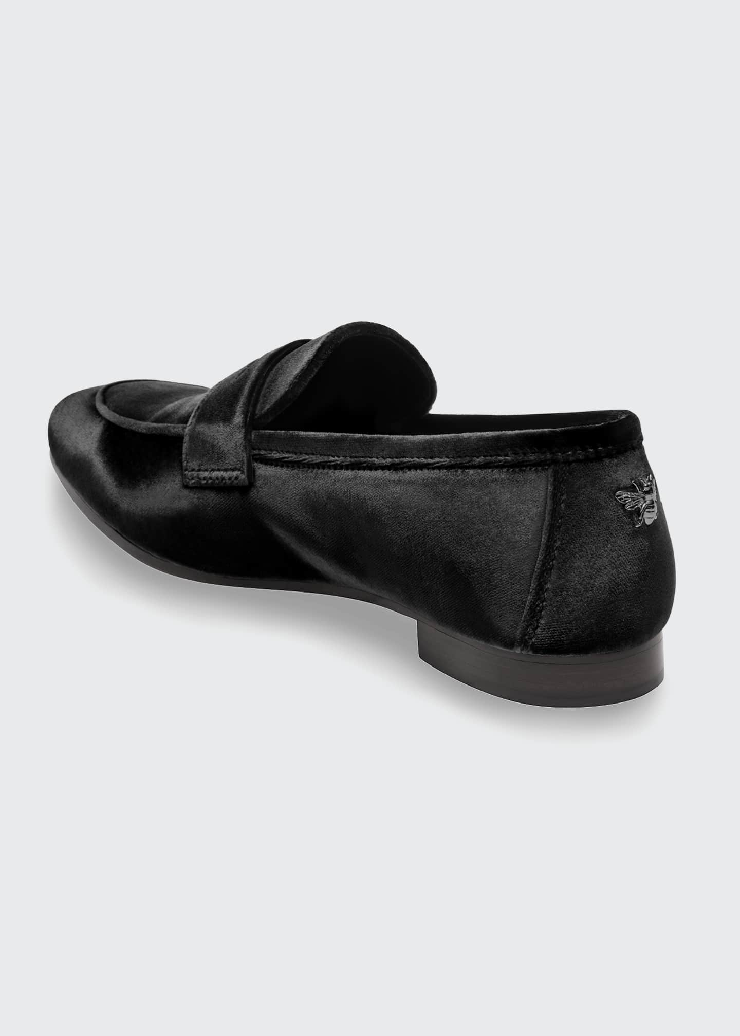 Image 3 of 4: Velvet Flat Penny Loafers