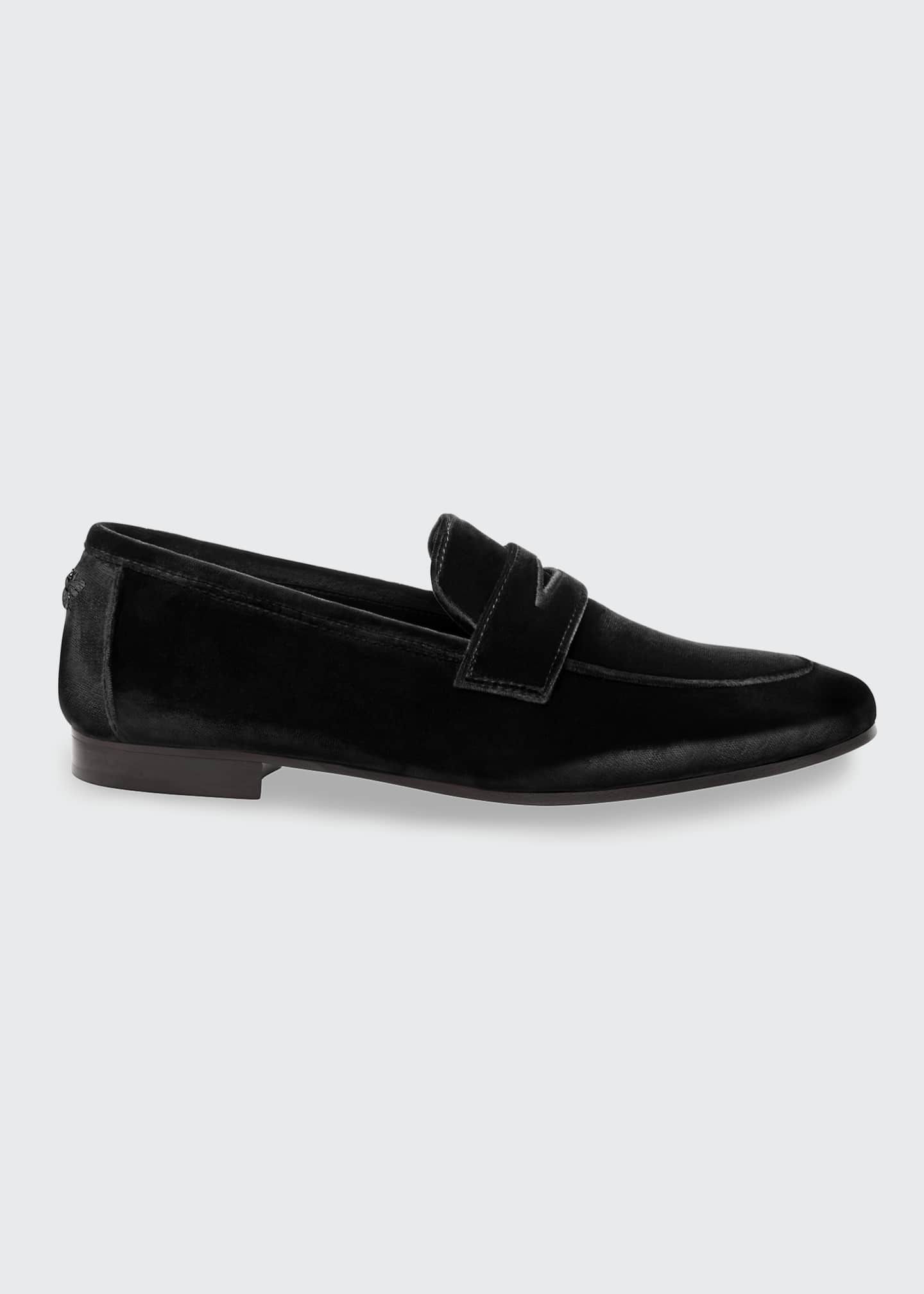 Image 1 of 4: Velvet Flat Penny Loafers