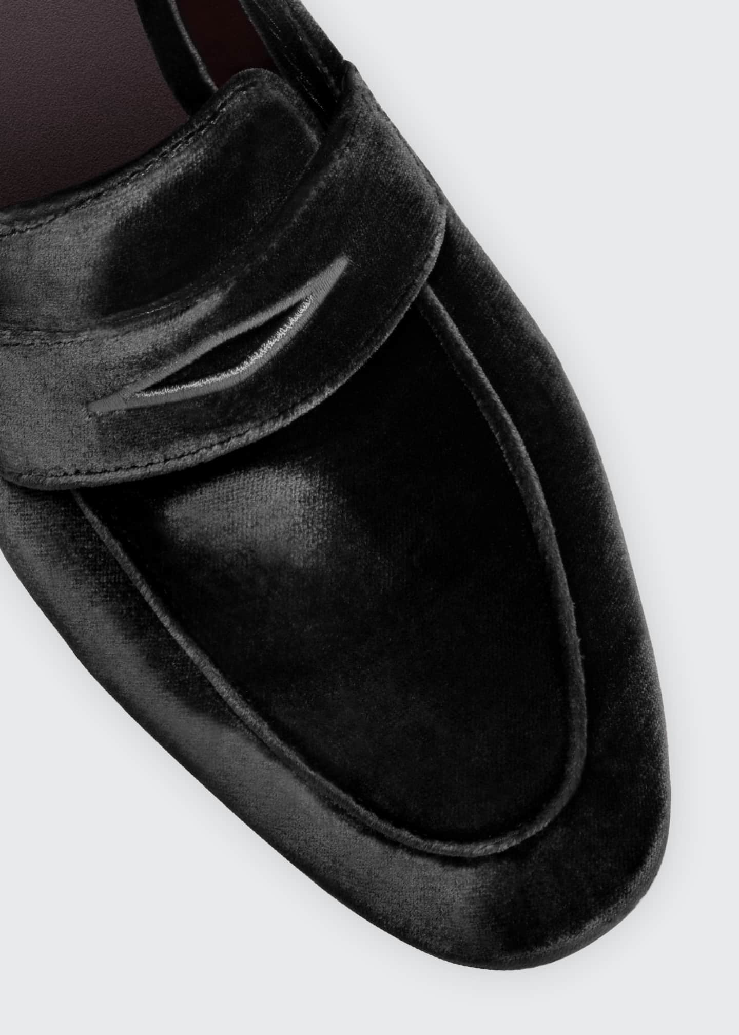 Image 4 of 4: Velvet Flat Penny Loafers
