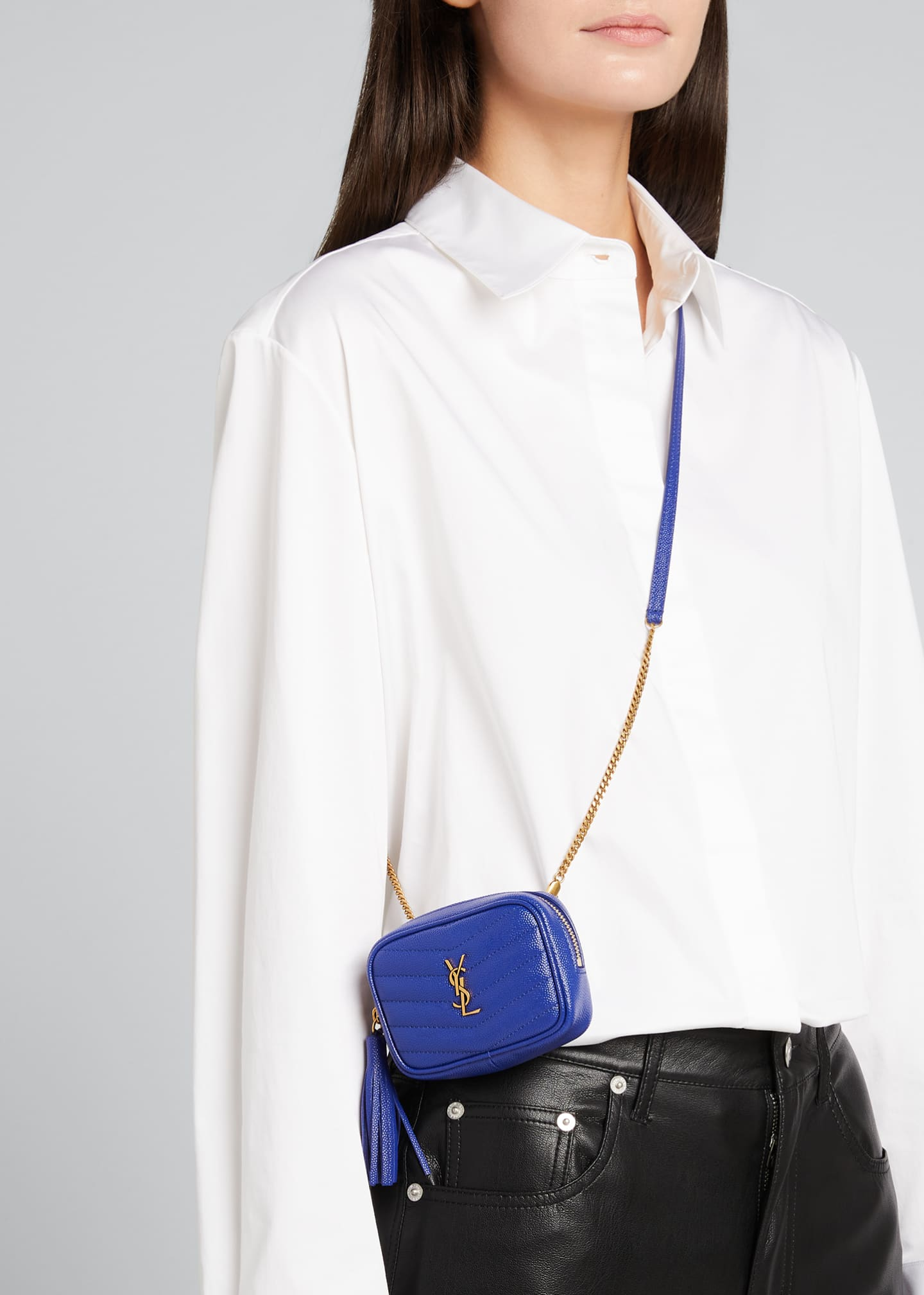 Image 2 of 4: Monogram YSL Grain de Poudre Key Pouch on Chain