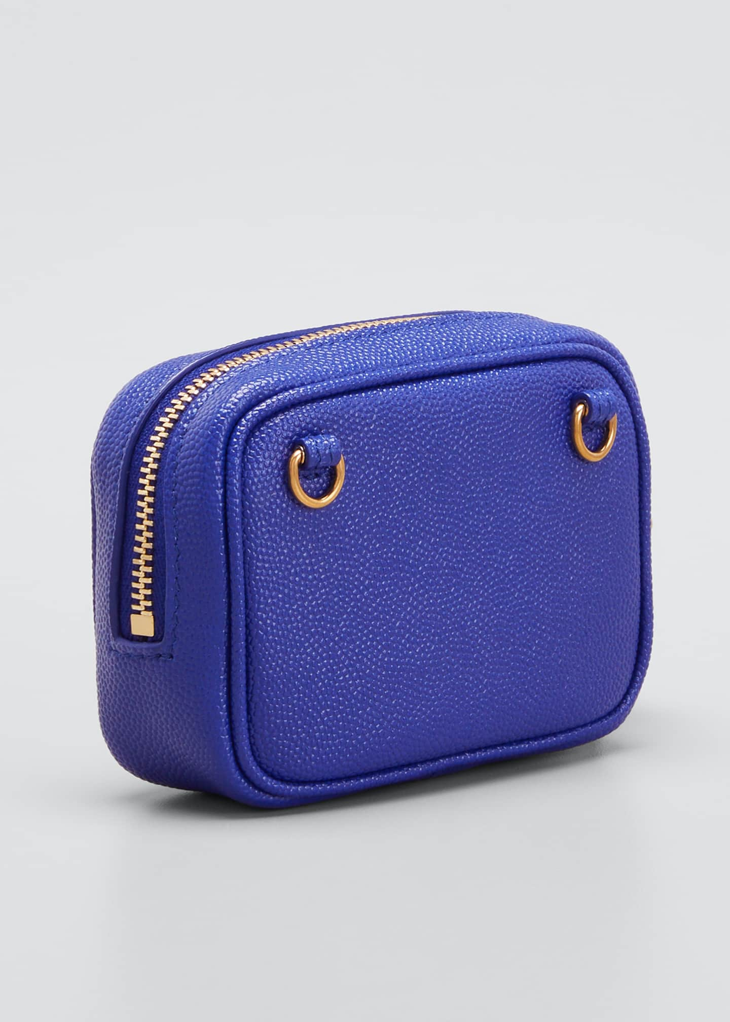 Image 3 of 4: Monogram YSL Grain de Poudre Key Pouch on Chain