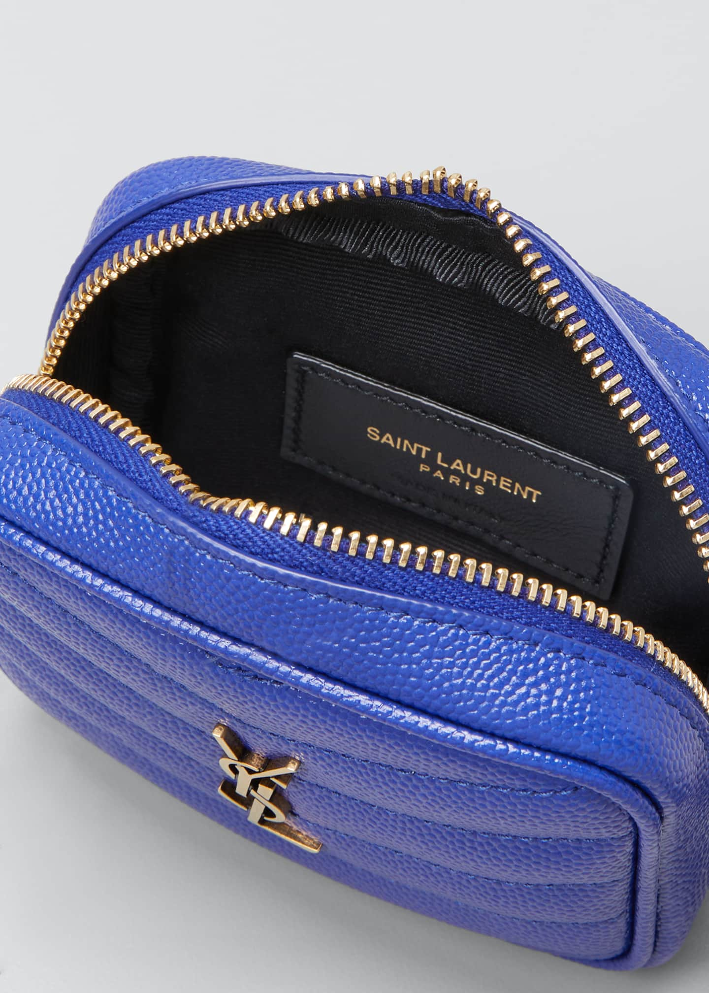 Image 4 of 4: Monogram YSL Grain de Poudre Key Pouch on Chain