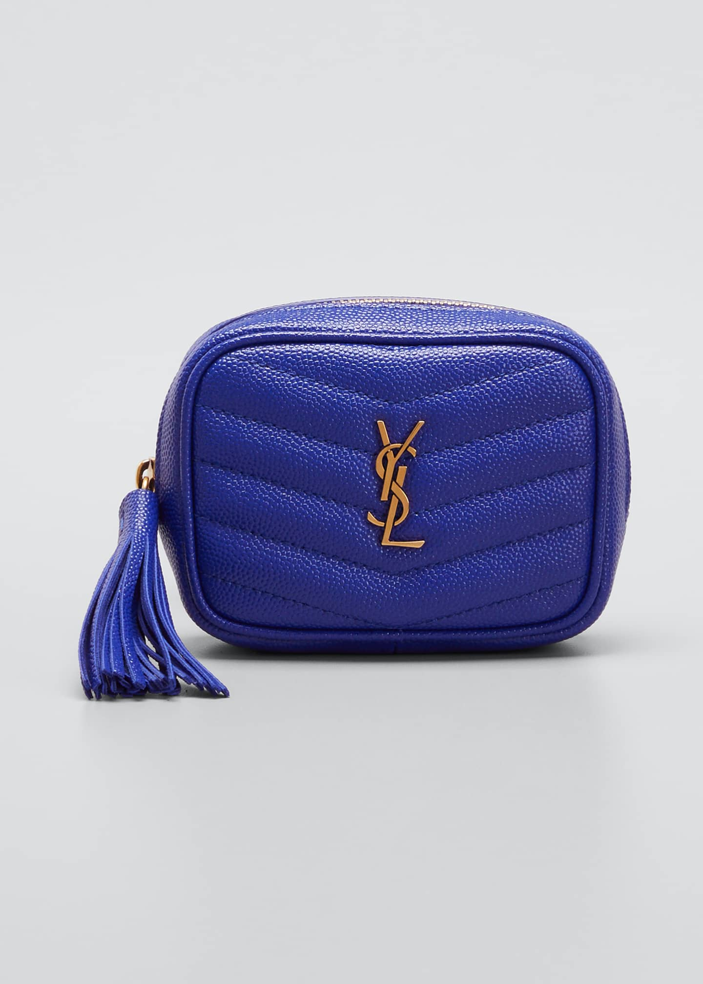 Image 1 of 4: Monogram YSL Grain de Poudre Key Pouch on Chain