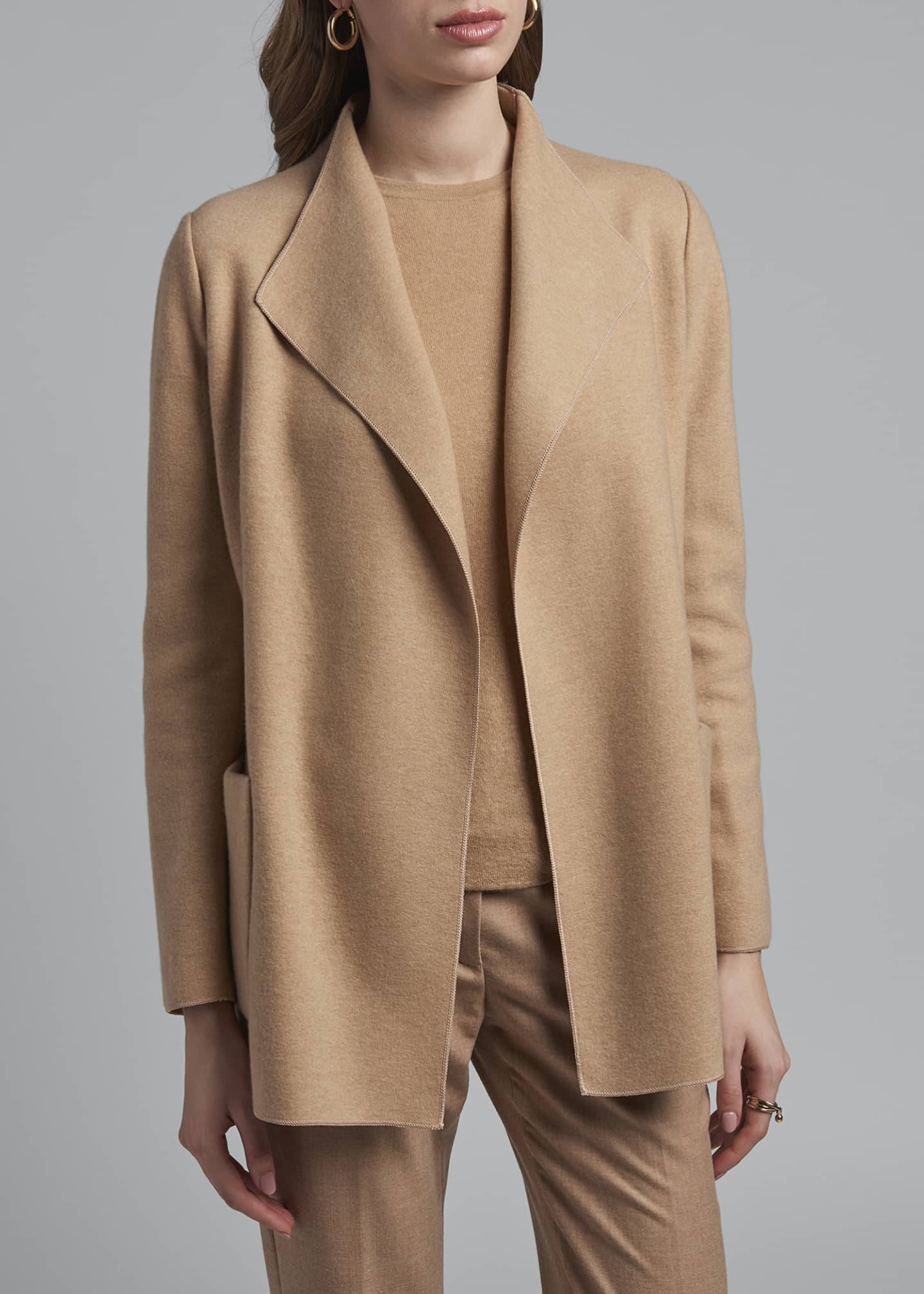 Image 3 of 3: Cashmere Fluid-Collar Jacket