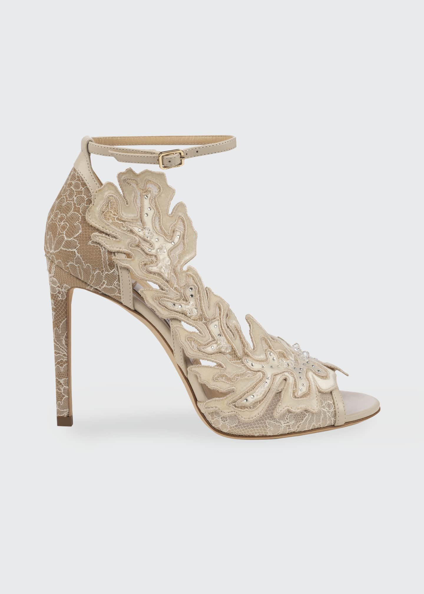 Image 1 of 1: Lucele 100mm Floral-Embellished Stiletto Sandals
