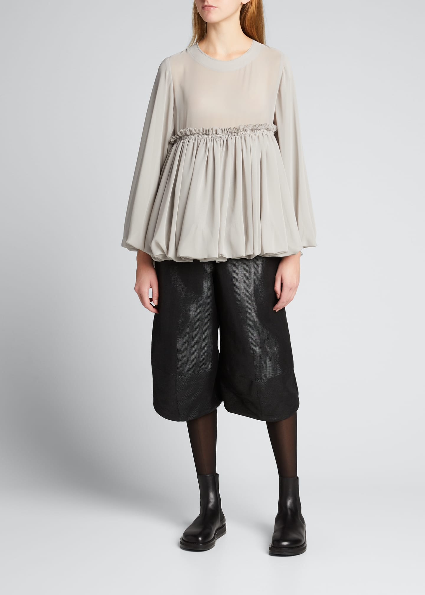 Image 1 of 5: Wide-Leg Wool-Blend Culottes