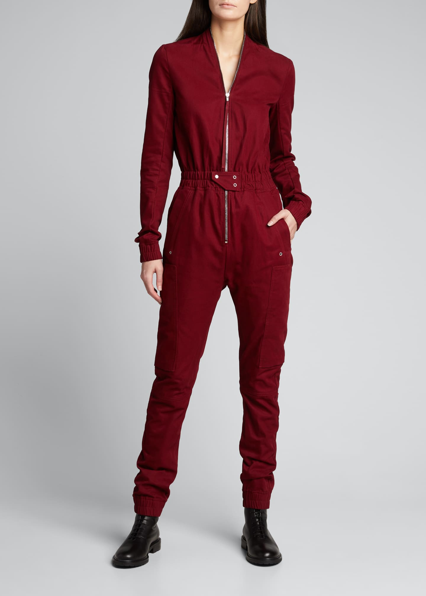 Image 3 of 5: Cargo Pocket Zip-Front Jumpsuit