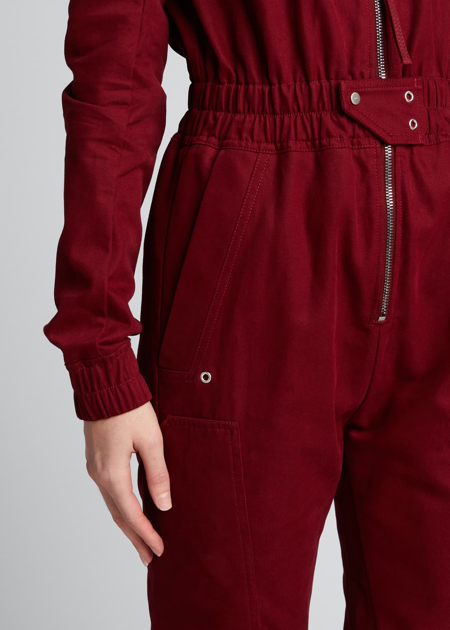 Image 4 of 5: Cargo Pocket Zip-Front Jumpsuit