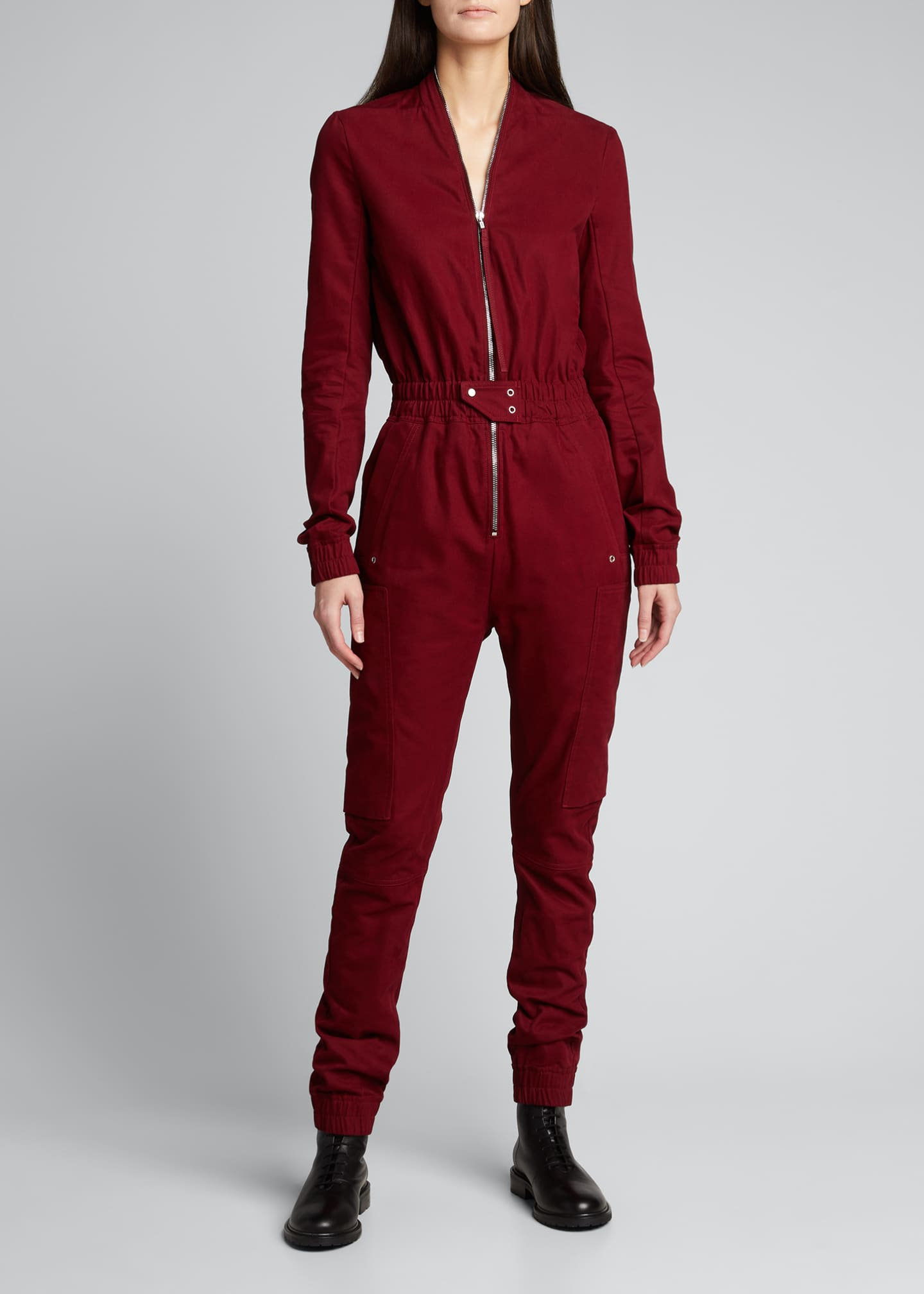 Image 1 of 5: Cargo Pocket Zip-Front Jumpsuit