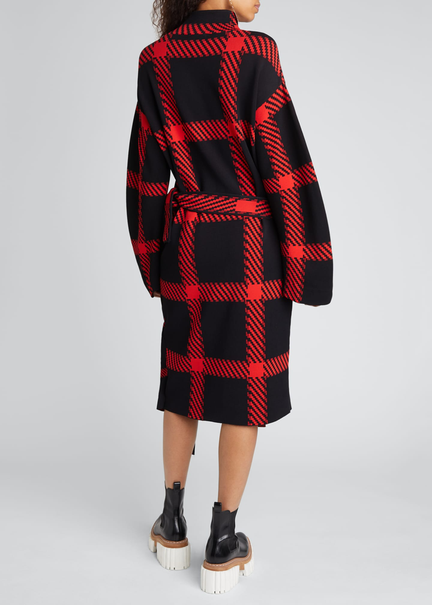 Image 2 of 4: Clean Lumberjack Belted Sweater Dress