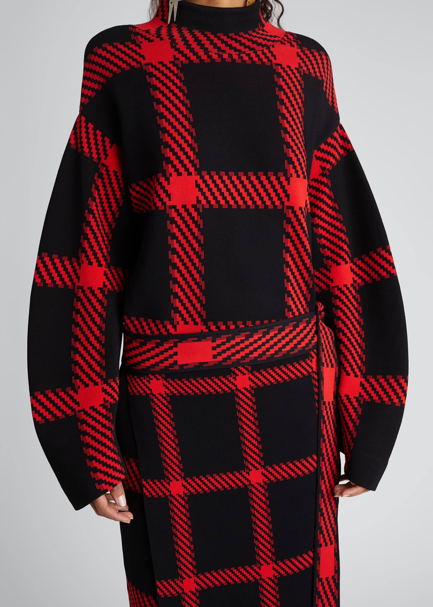 Image 3 of 4: Clean Lumberjack Belted Sweater Dress