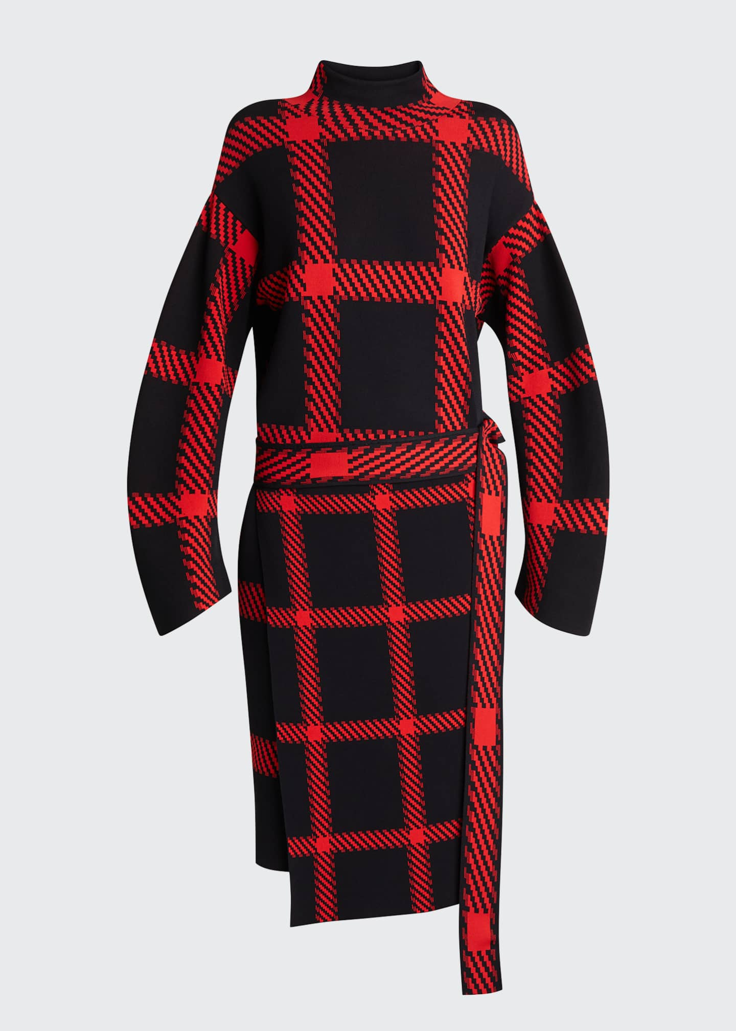 Image 4 of 4: Clean Lumberjack Belted Sweater Dress