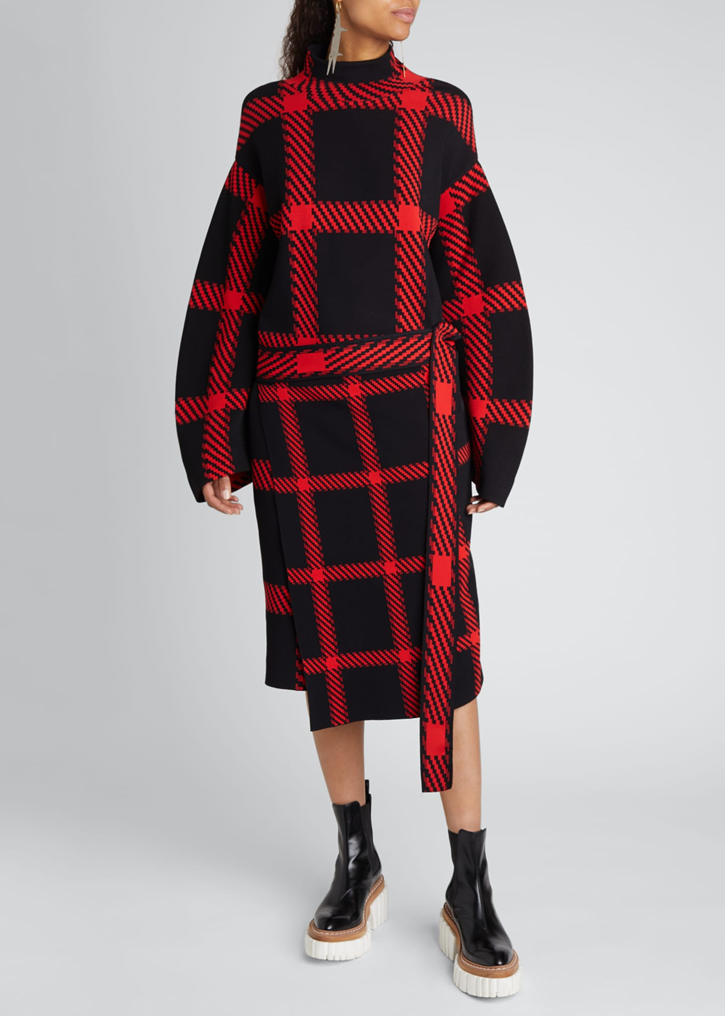 Image 1 of 4: Clean Lumberjack Belted Sweater Dress