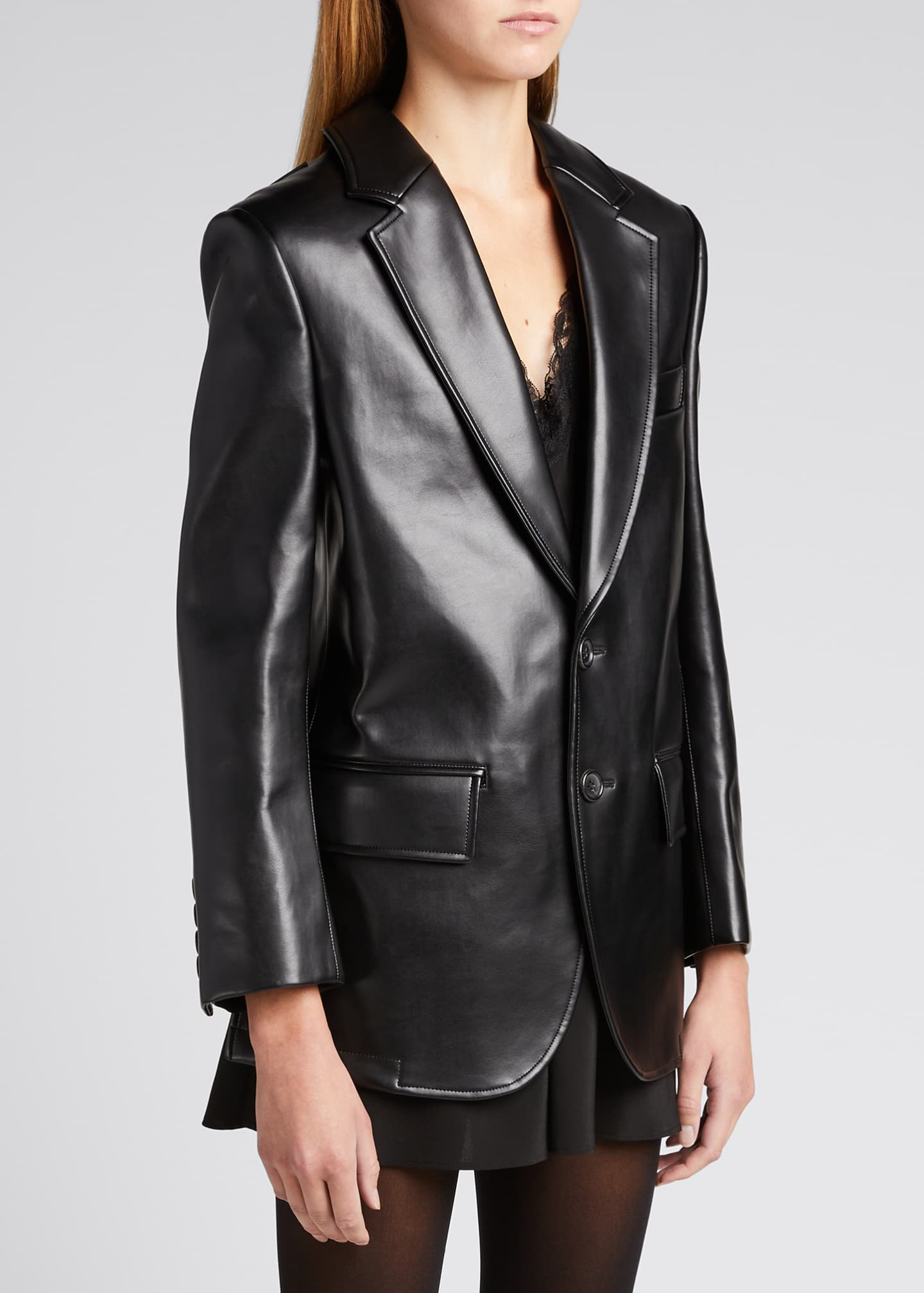 Image 3 of 5: Faux-Leather Cutout-Back Blazer