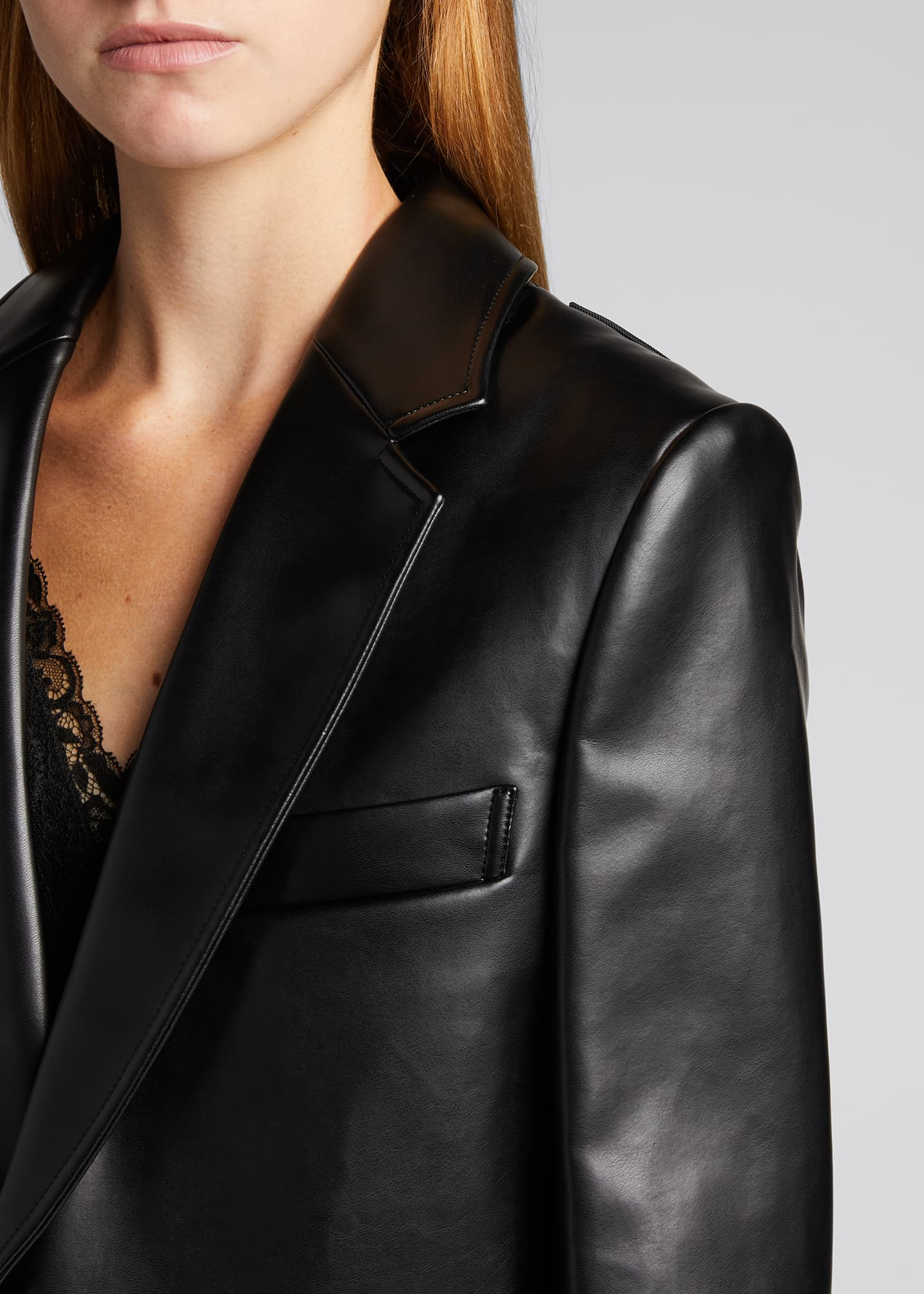Image 4 of 5: Faux-Leather Cutout-Back Blazer