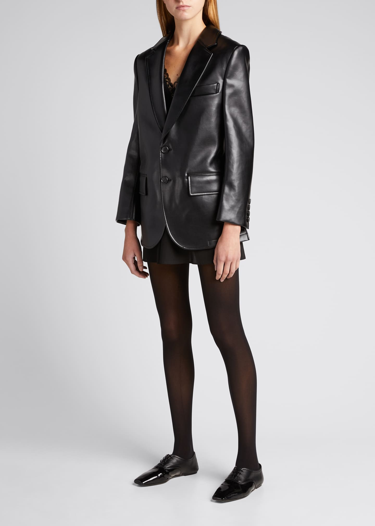 Image 1 of 5: Faux-Leather Cutout-Back Blazer