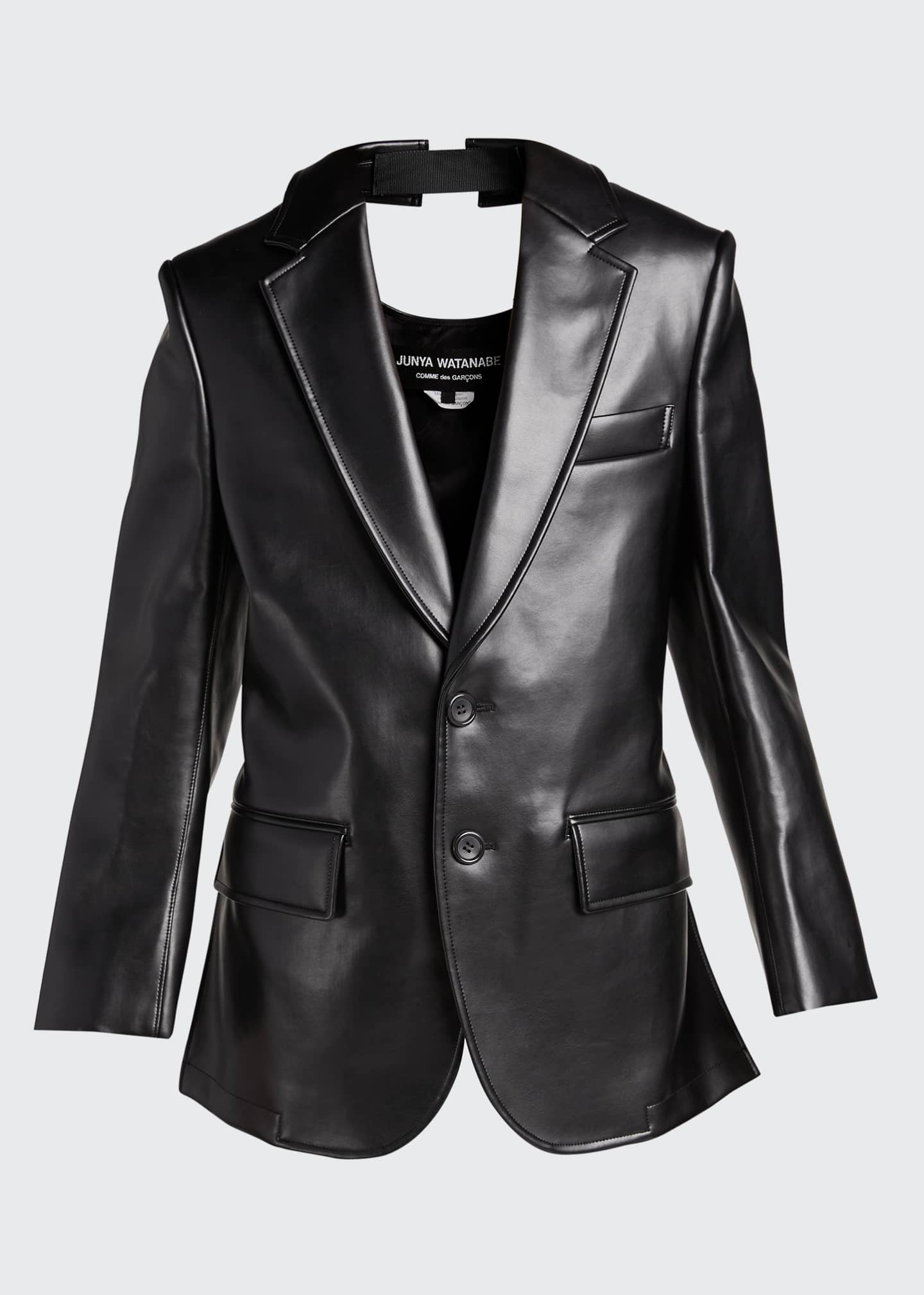 Image 5 of 5: Faux-Leather Cutout-Back Blazer