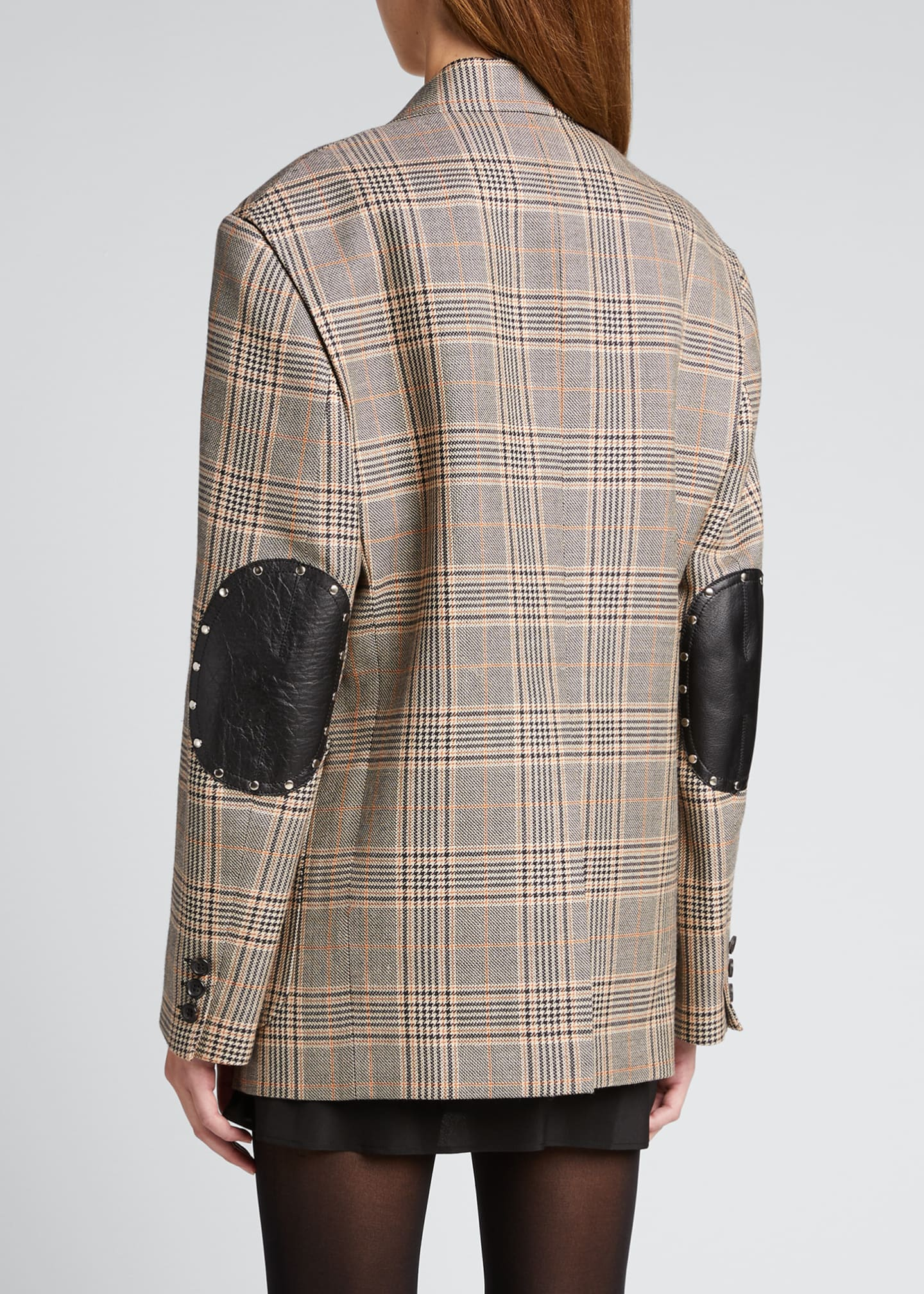 Image 2 of 5: Plaid Wool-Blend Blazer w/ Elbow Patches