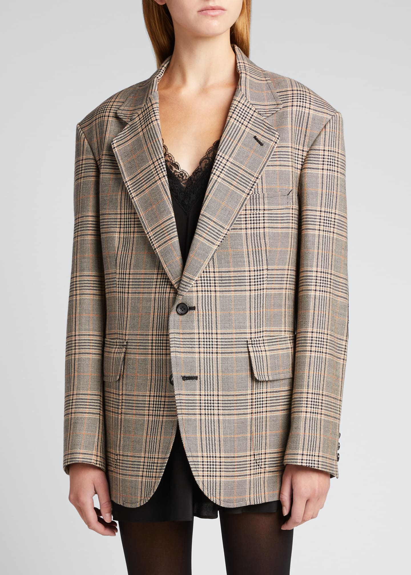Image 3 of 5: Plaid Wool-Blend Blazer w/ Elbow Patches