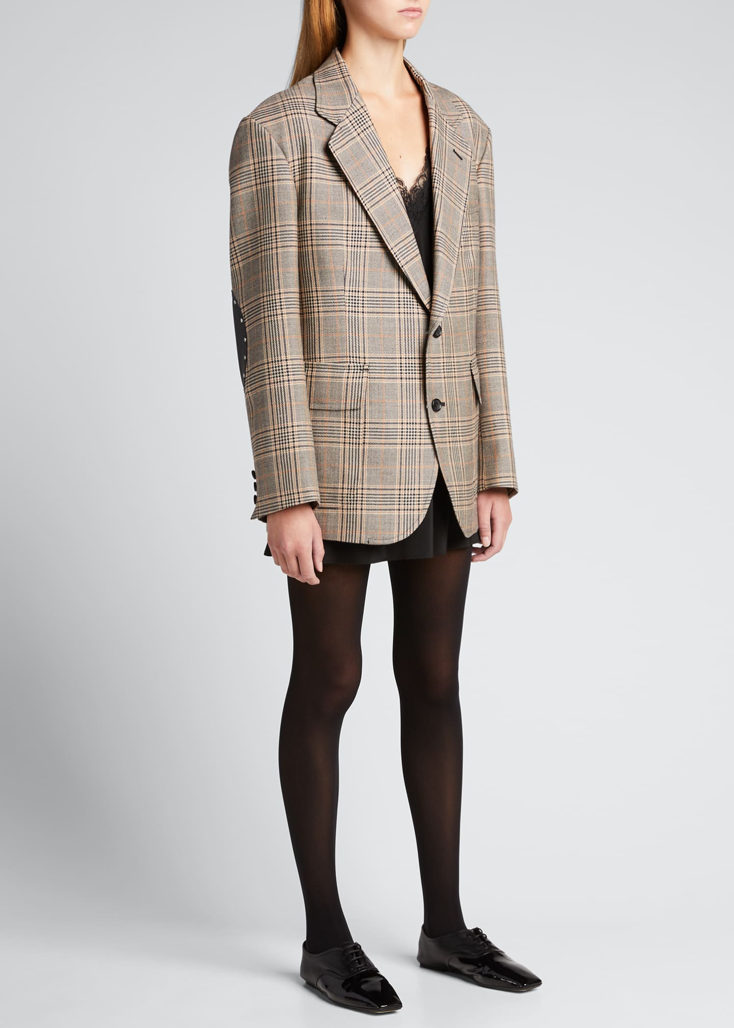 Image 1 of 5: Plaid Wool-Blend Blazer w/ Elbow Patches
