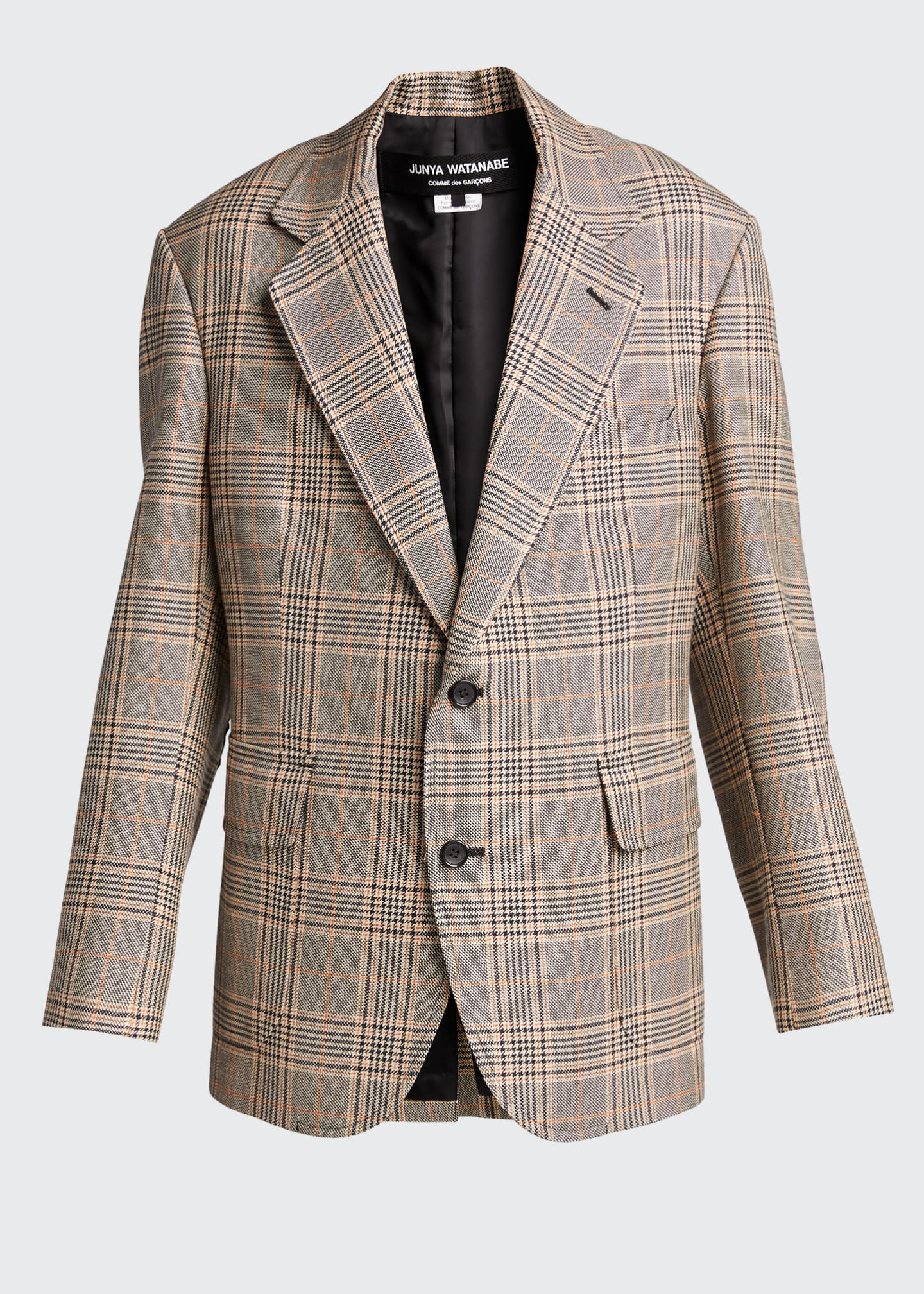 Image 5 of 5: Plaid Wool-Blend Blazer w/ Elbow Patches