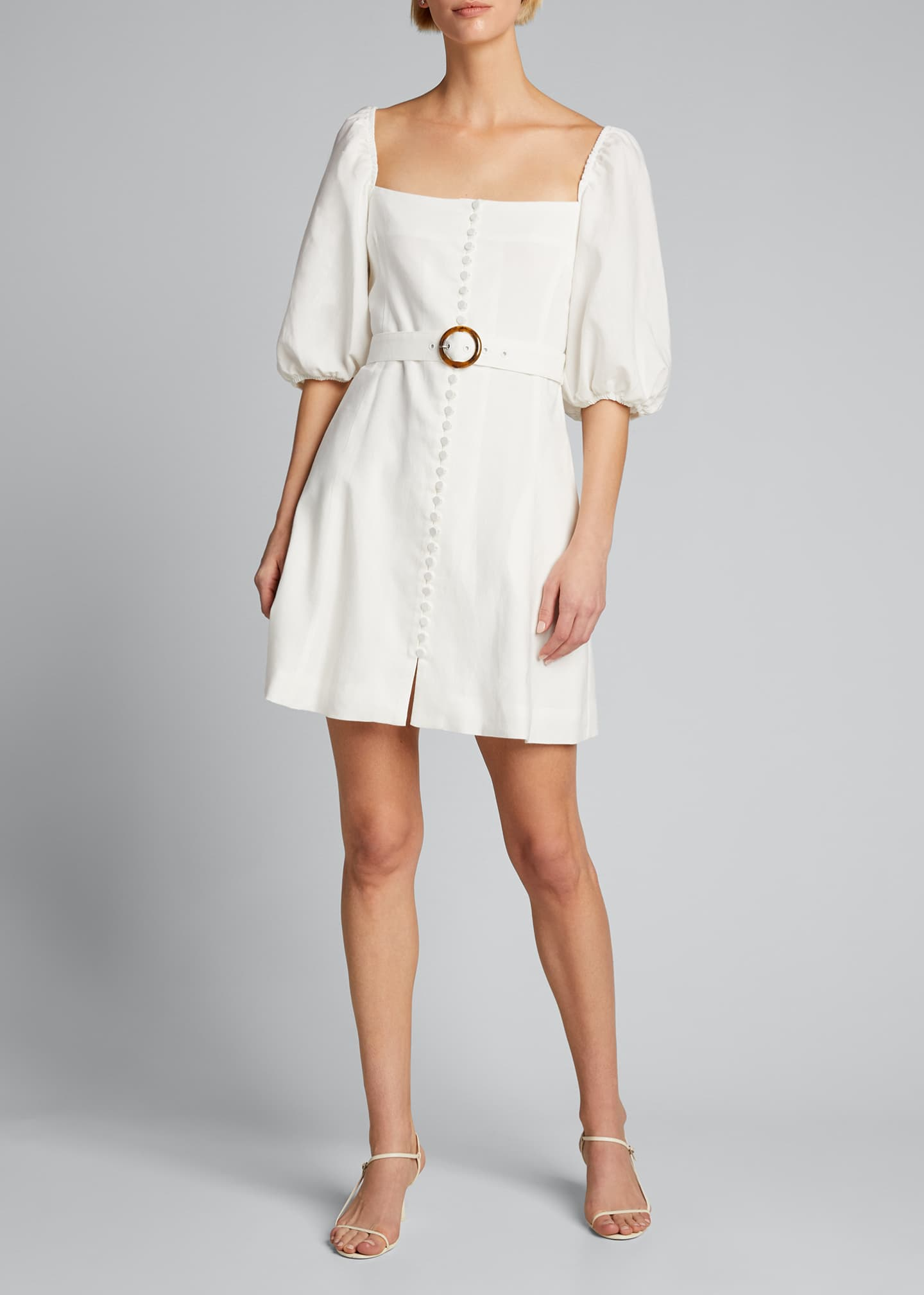 Image 3 of 4: Emery Belted Stretch Linen Mini Dress