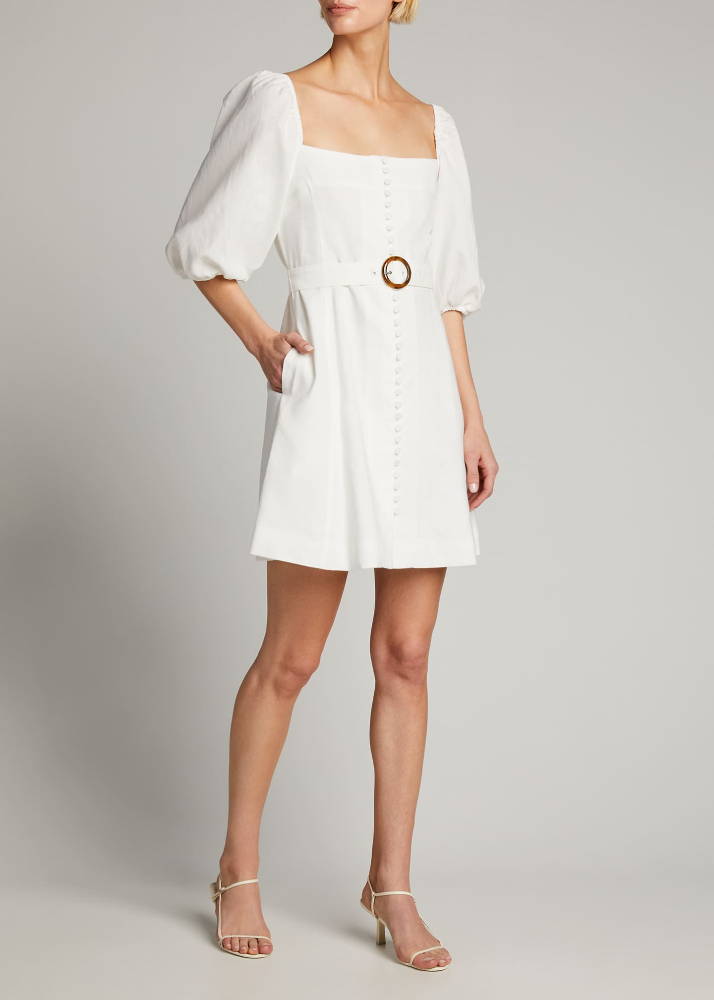 Image 1 of 4: Emery Belted Stretch Linen Mini Dress